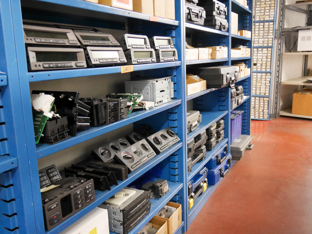 The parts department is well-stocked. Check out the old head units!