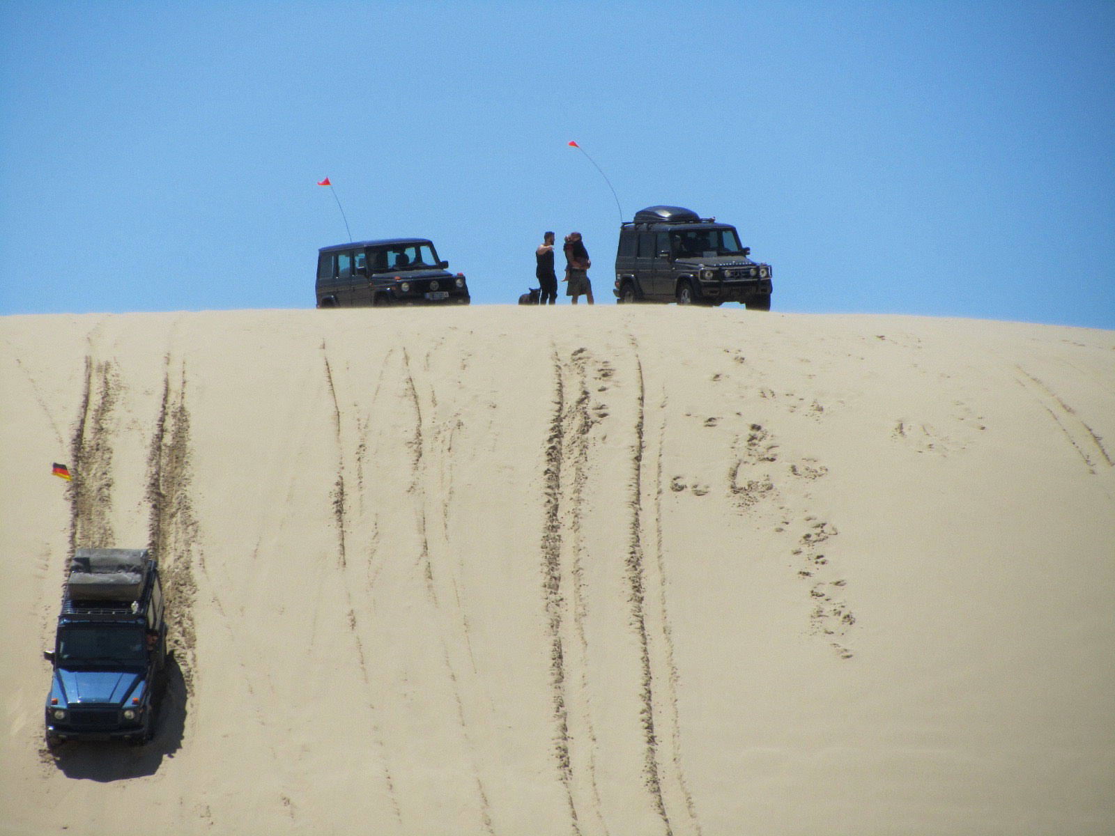 Members hit the bottom of the Oregon Dunes at about 50-55 mph in order to carry enough momentum up to the crest, at which point they're going 5 mph.