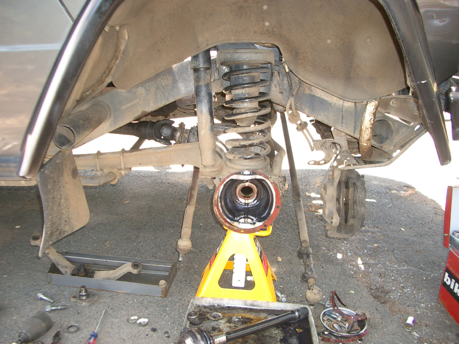 Side glance at an axle rebuild in progress.
