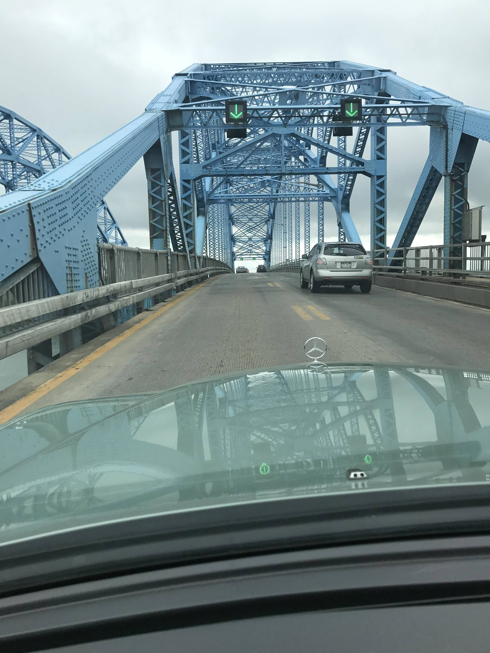 crossing the bridge into the United States
