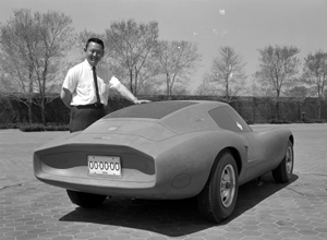 Larry Shinoda and a clay model of the Corvair Monza GT, 1962 at GM Tech Center