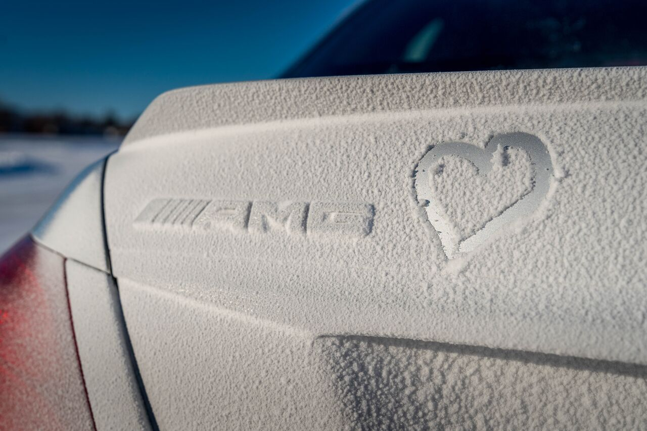 snow covered Mercedes-AMG