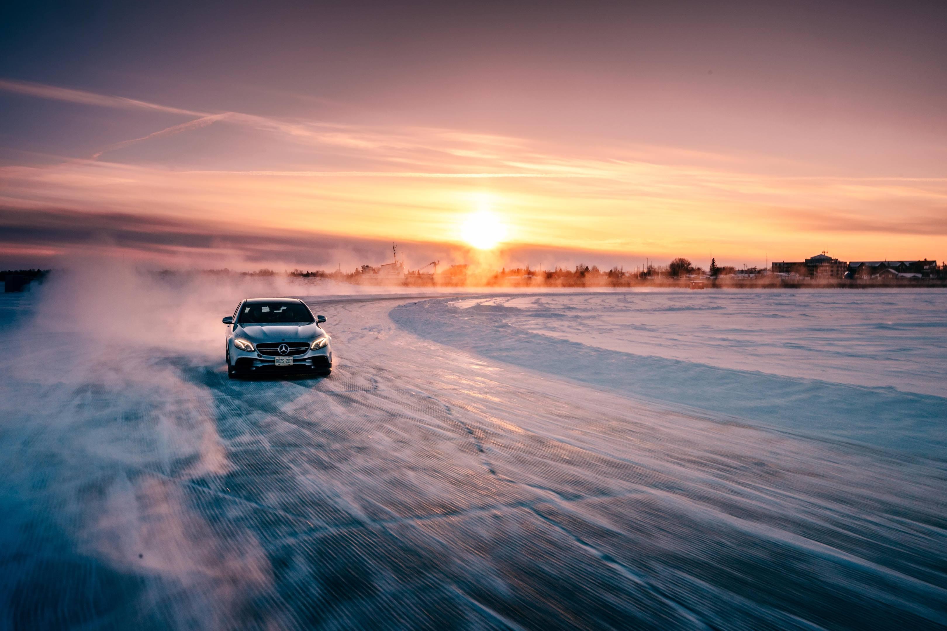 Mercedes-Benz at sunset