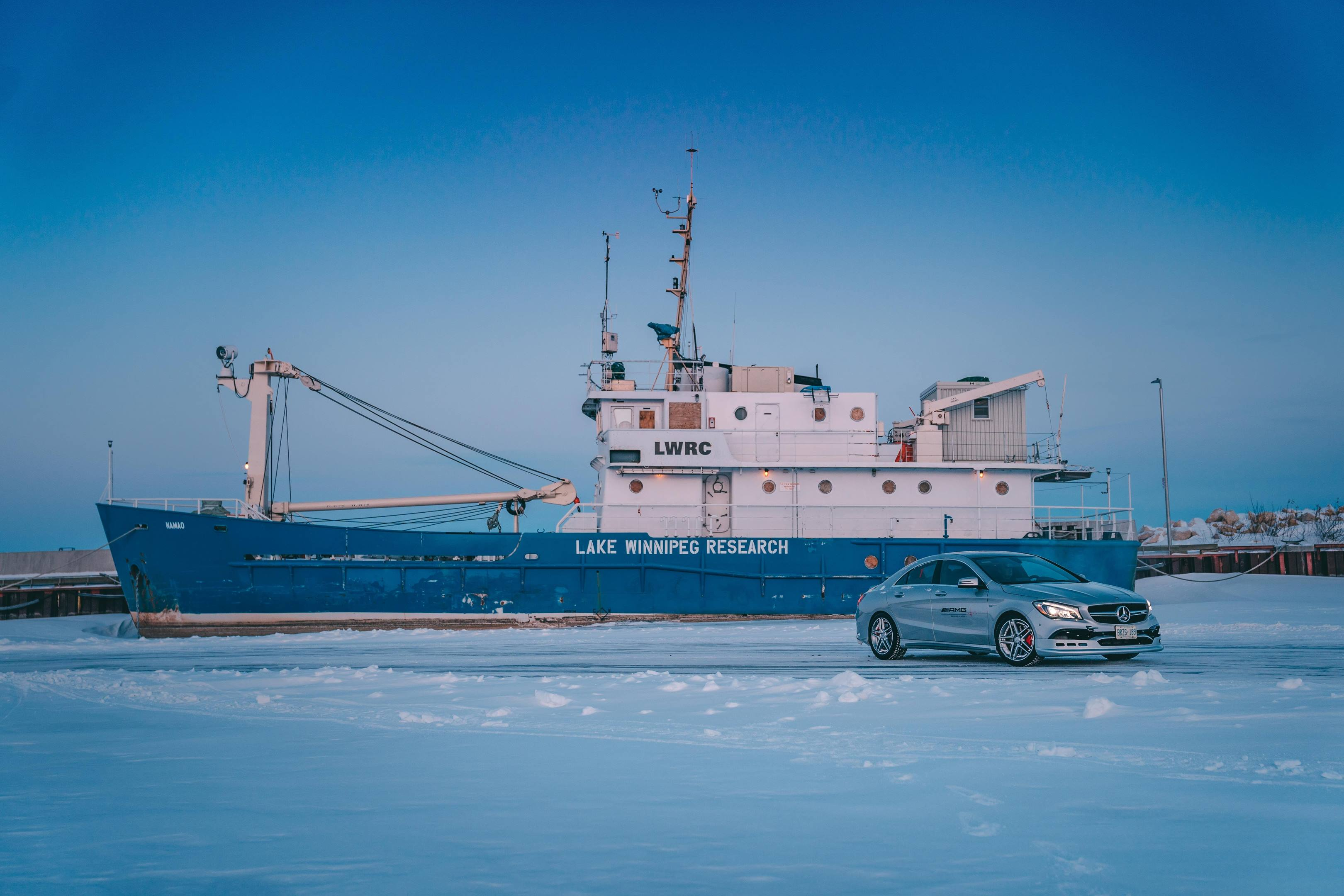 Mercedes-Benz driving school on a frozen lake