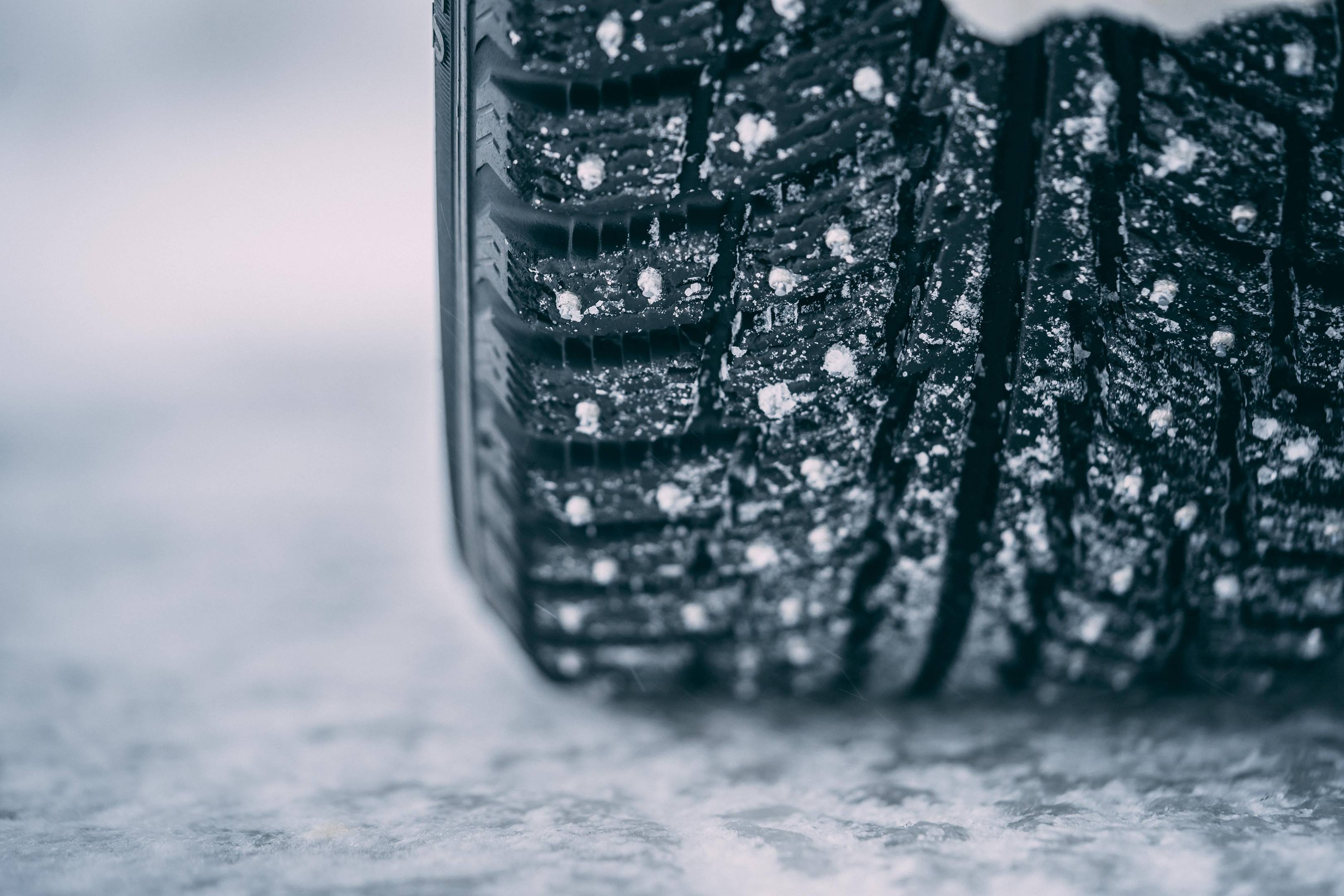 studded snow tire detail