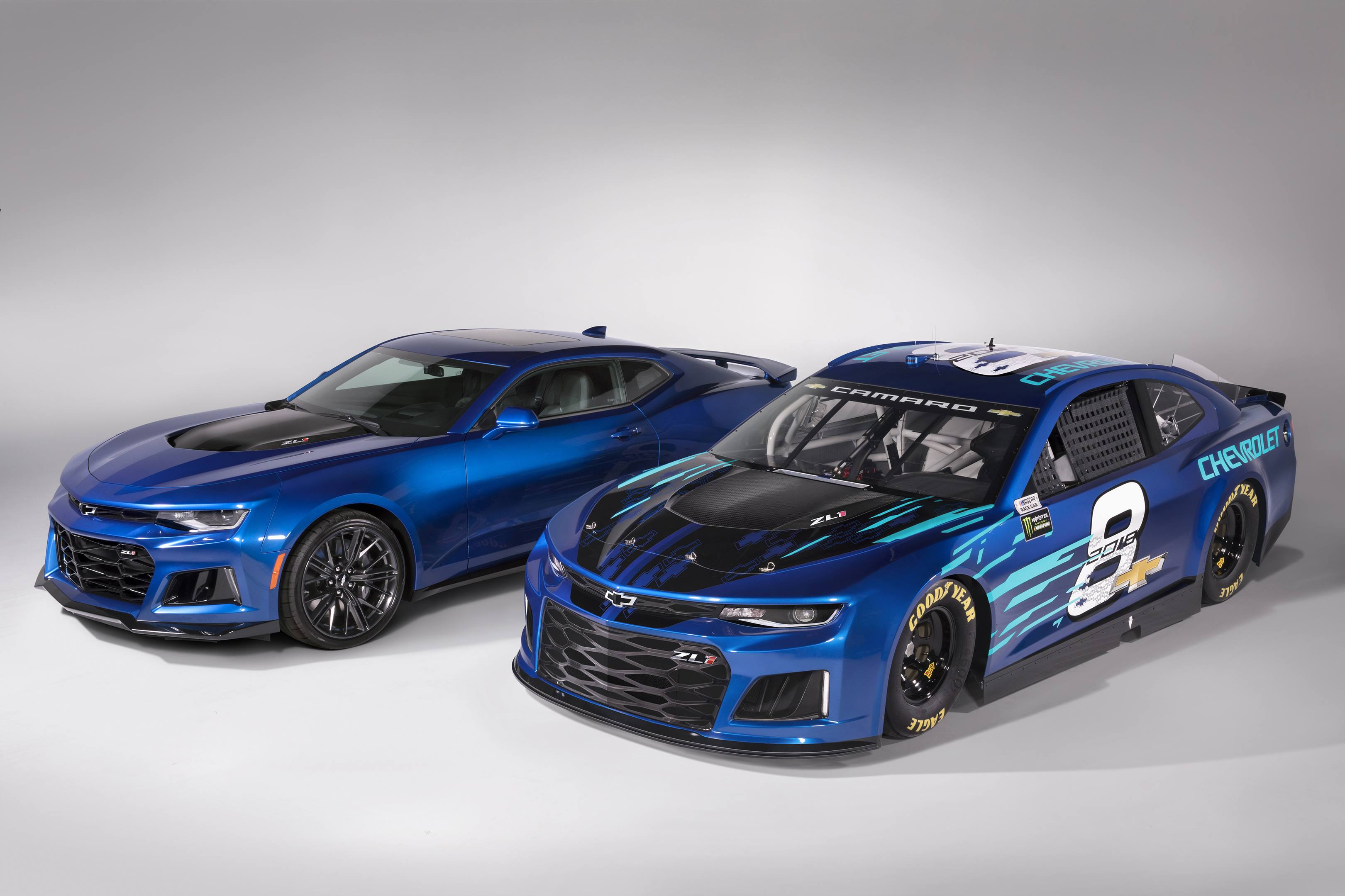 2018 Chevrolet Camaro ZL1 NASCAR cup race car and the Camaro ZL1-R