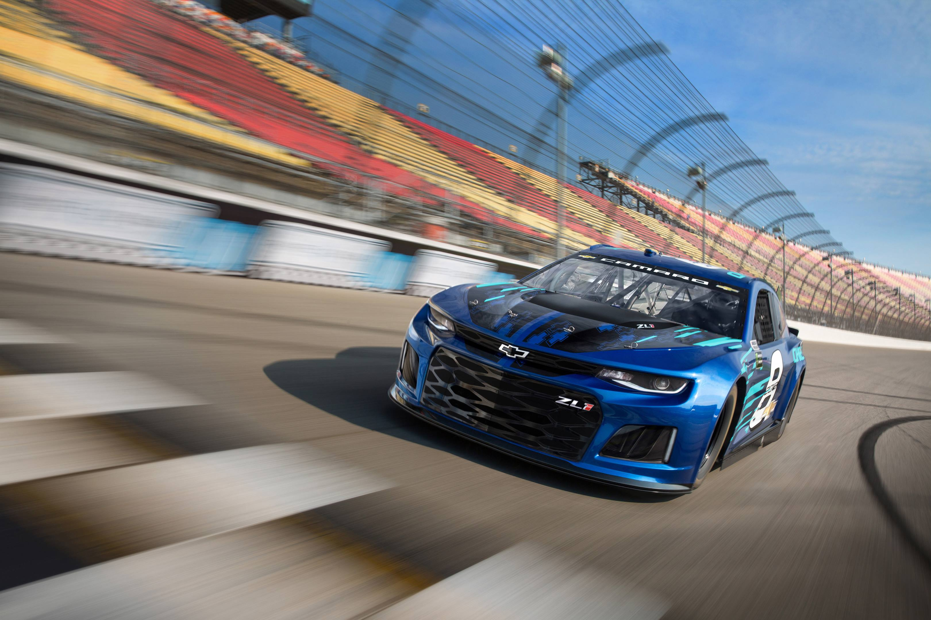 2018 Chevrolet Camaro ZL1 NASCAR cup race car on the track