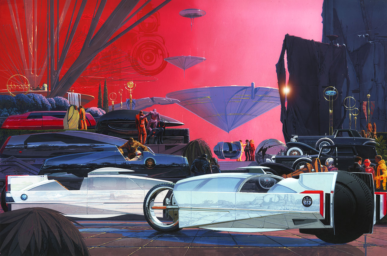 Syd Mead's poster for the 2017 EyesOnDesign Concours depicted that event in the year 2047.