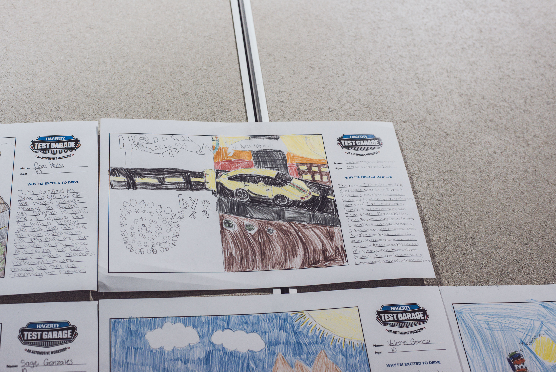 Skyler Thomas Dougherty drawing during Hagerty's Test garage