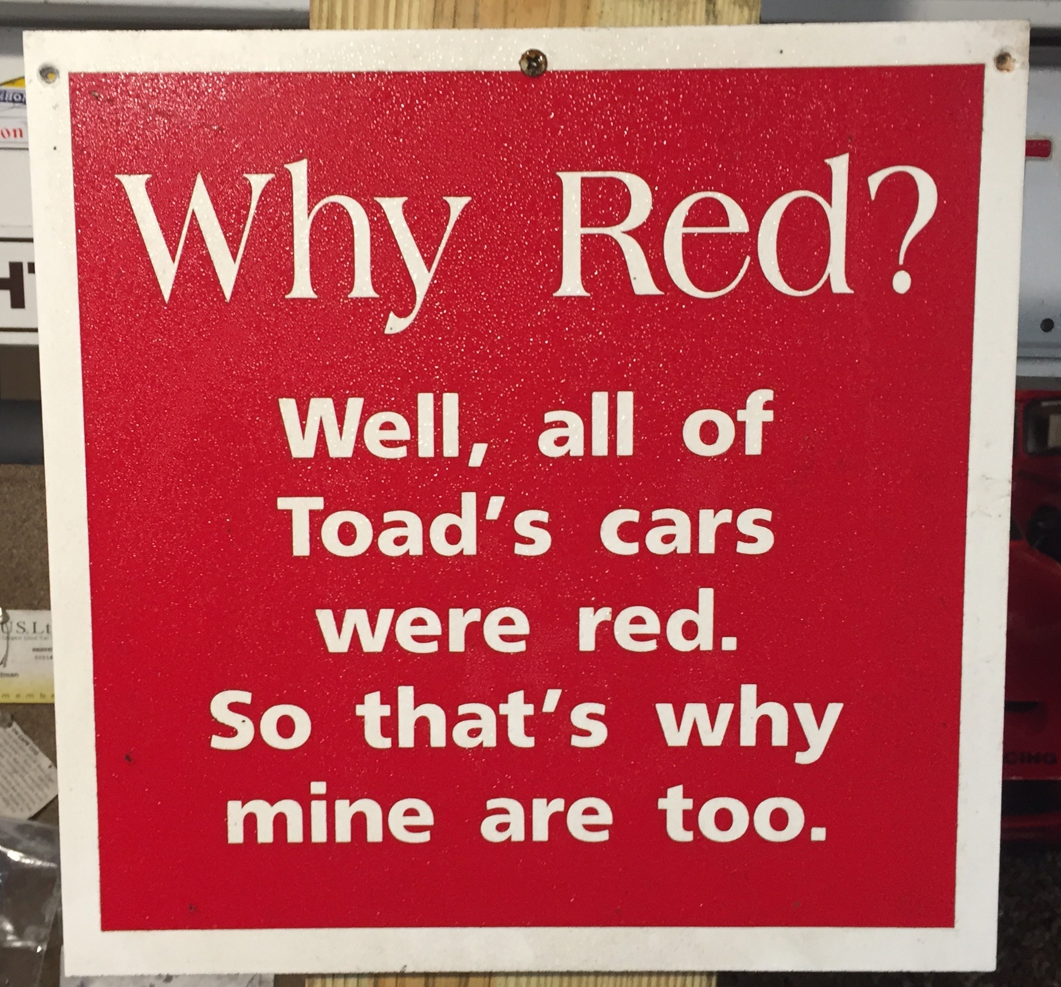 Toad's cars were red