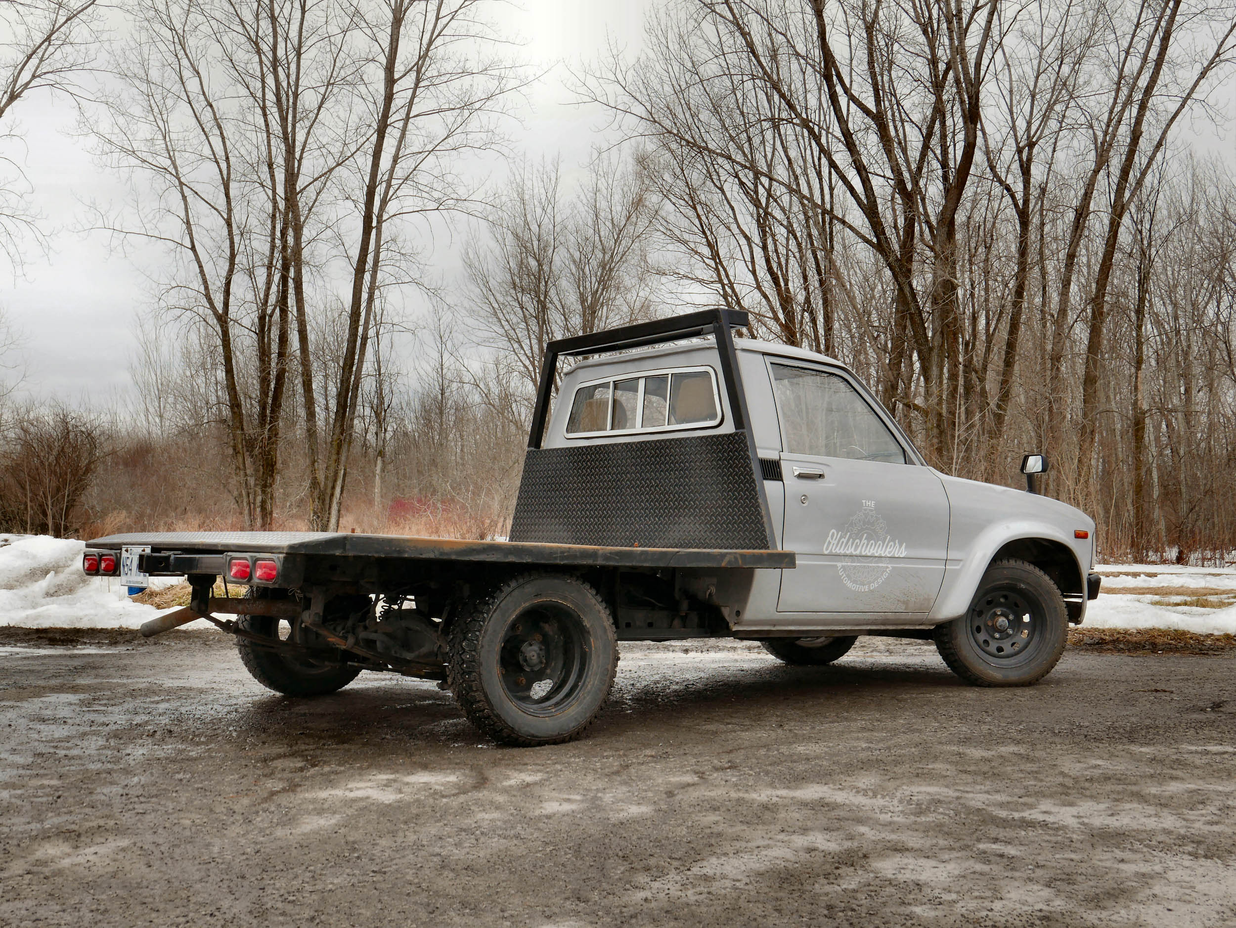1980 Toyota dually flatbed rear 3/4