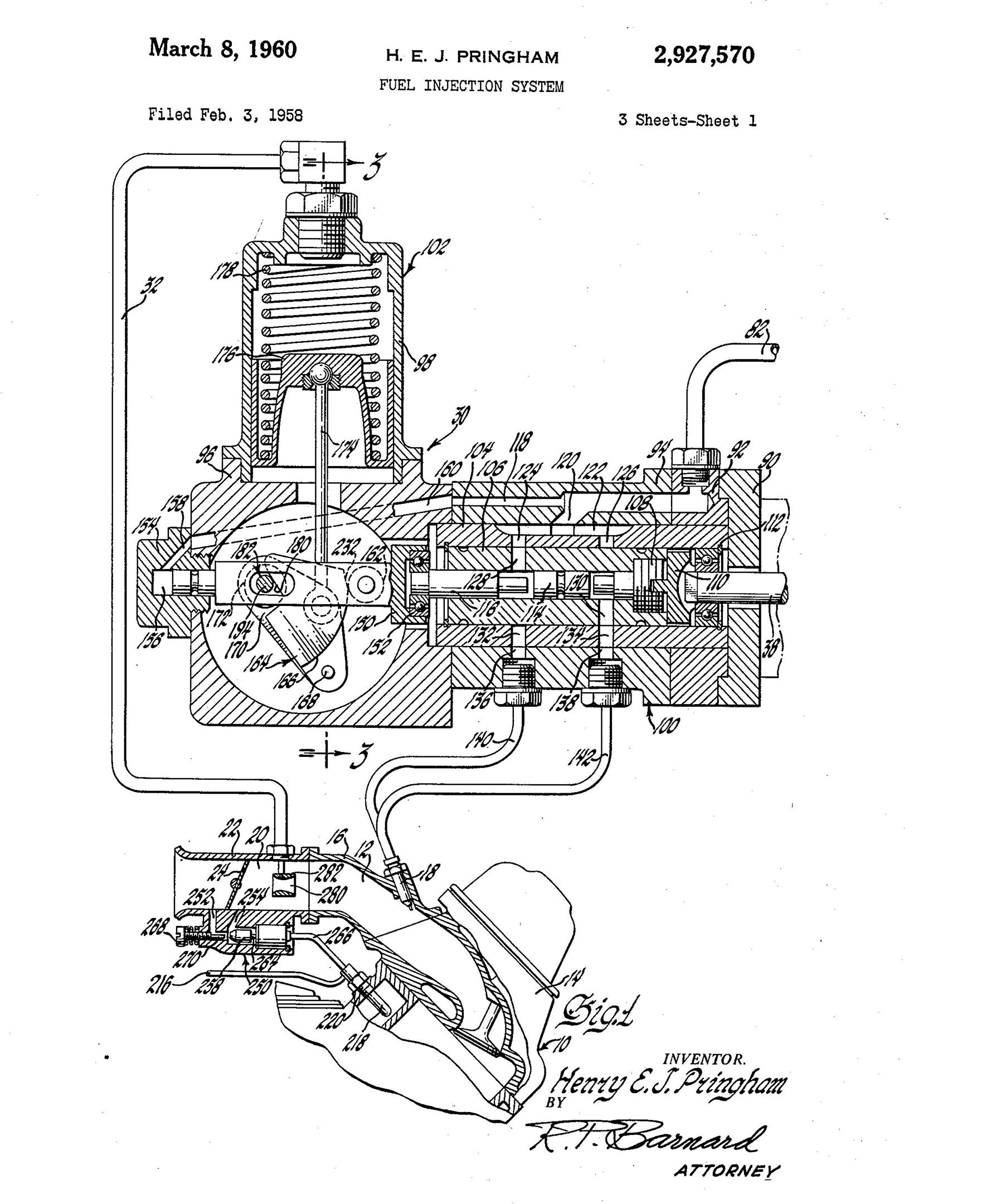 A patent drawing from Pringham's injection prototype