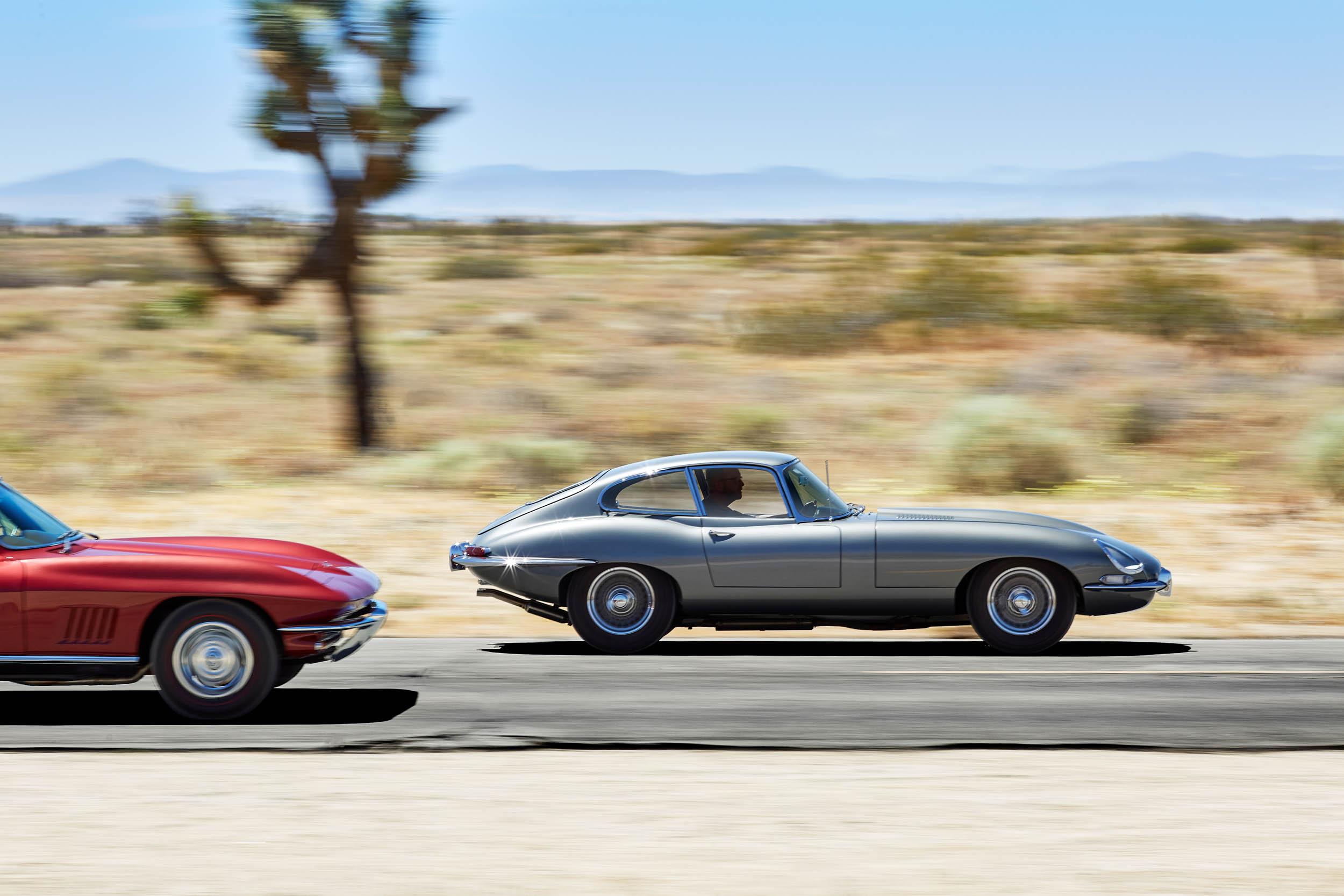1967 Jaguar E-type and 1967 Chevrolet Corvette