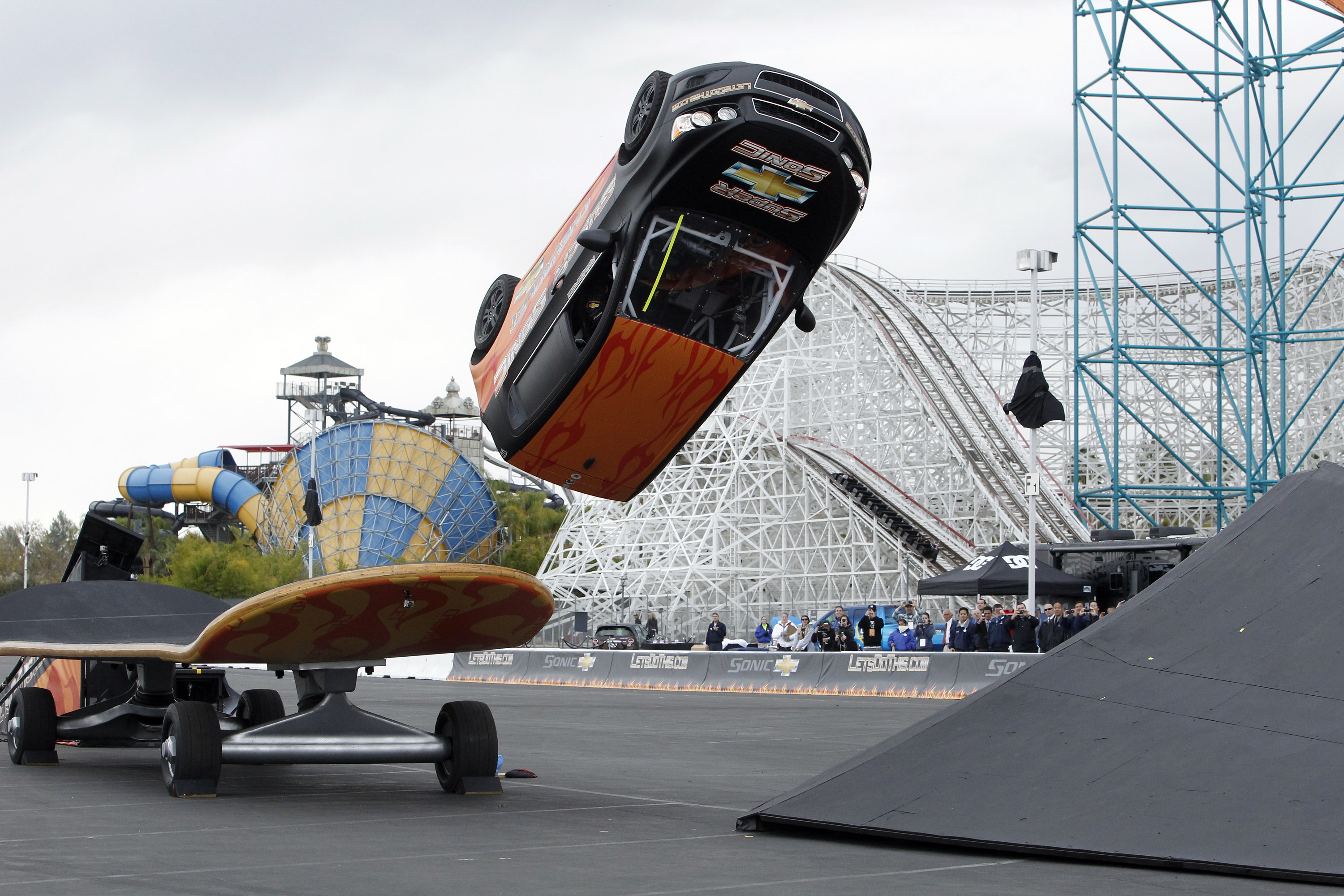 In 2011, former pro skateboarder Rob Dyrdek resurrected the stunt at Six Flags Magic Mountain to publicize the then-new Chevrolet Sonic. The resulting video was a YouTube hit.