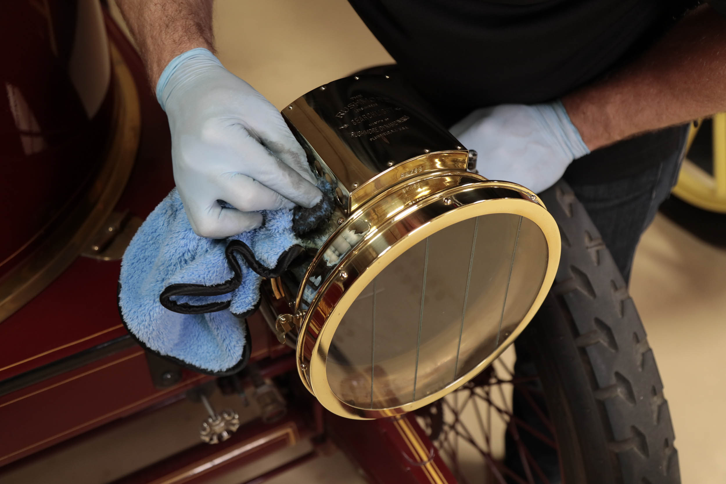 detailing a brass headlight