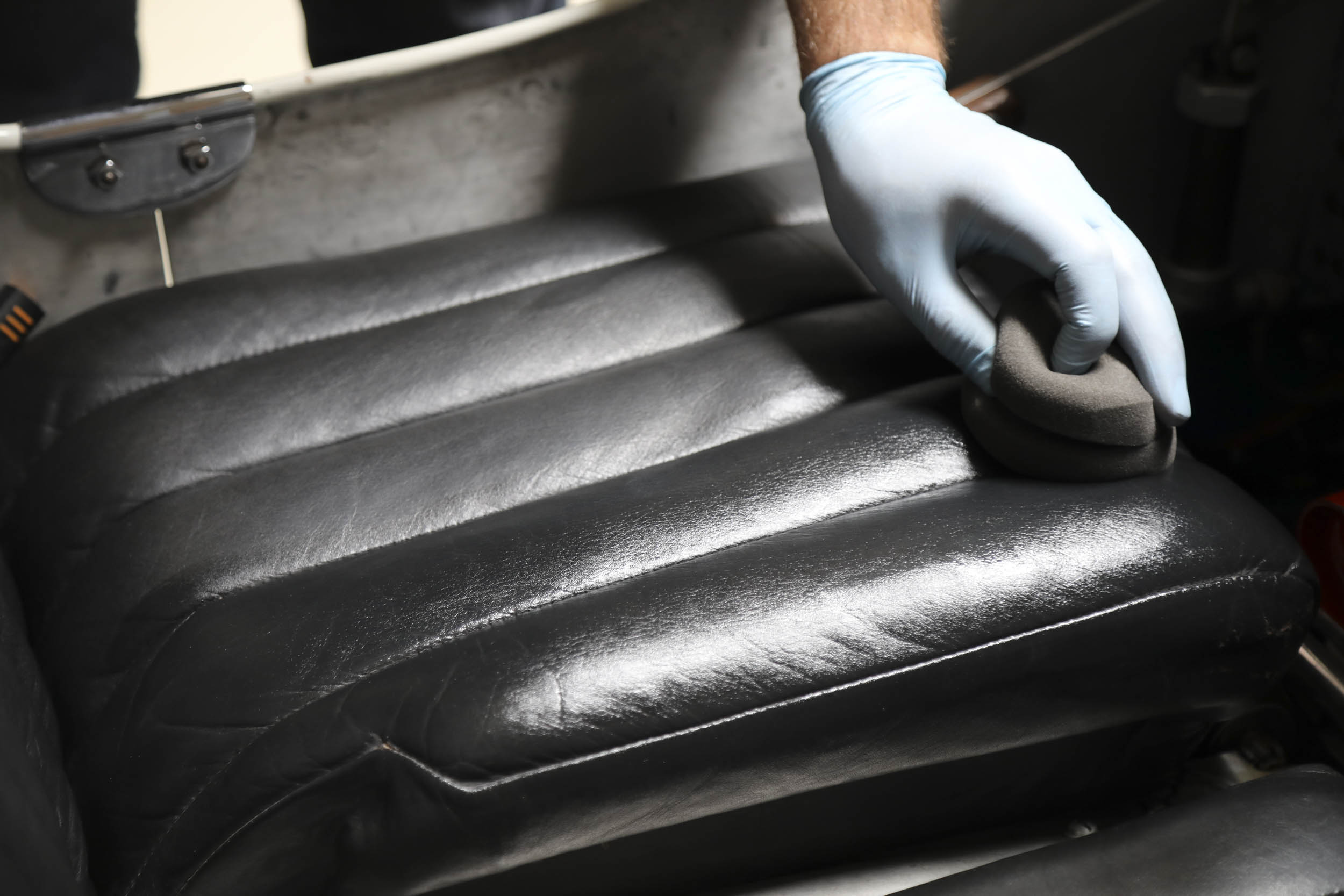 cleaning a leather seat