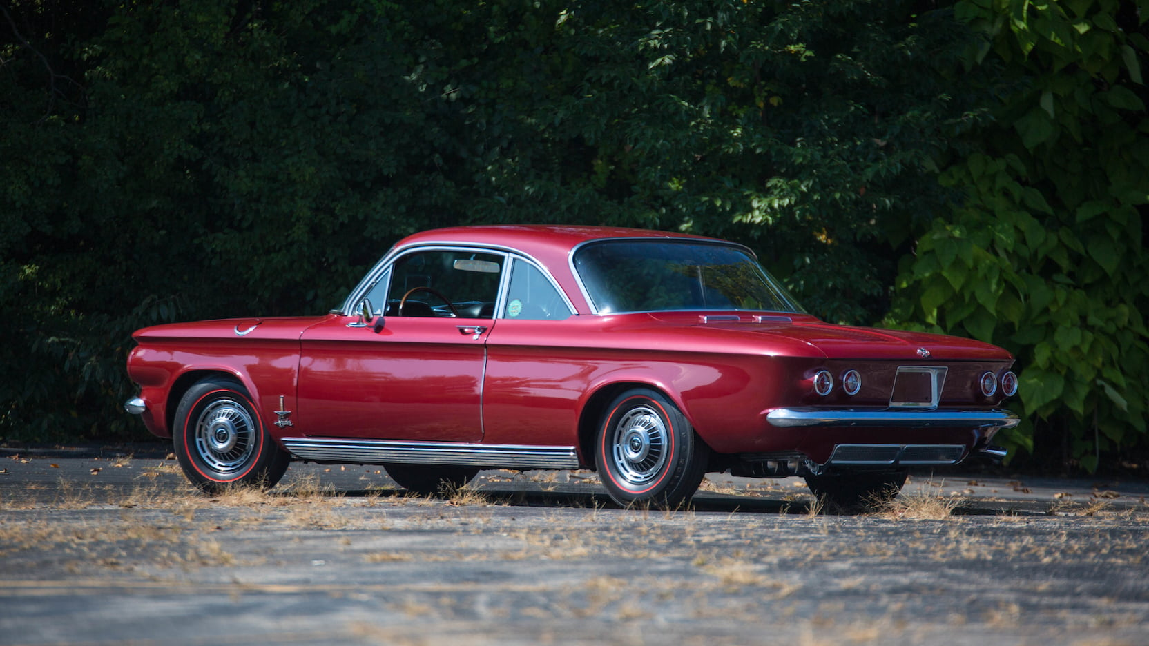 1963 Chevrolet Corvair rear 3/4