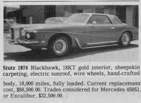 Classic Classified: 1974 Stutz Blackhawk thumbnail