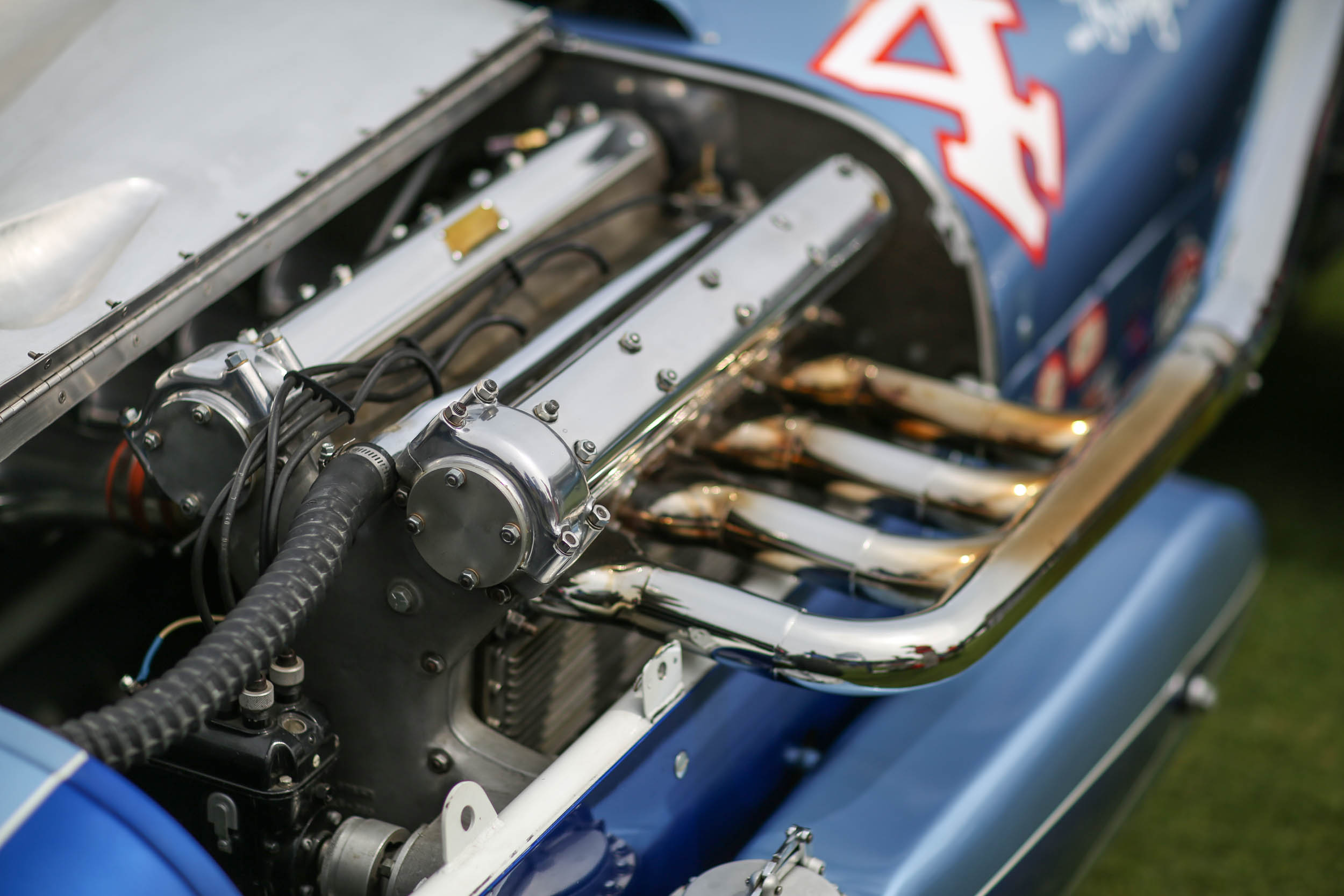 Powering this Watson Indy roadster to Indy 500 victory in 1960, this Offenhauser engine was set off to the left rather than the traditional mounting that canted them over. It allowed for more weight bias to the left side of the car – inboard on a counterclockwise oval track – and easier maintenance as well.
