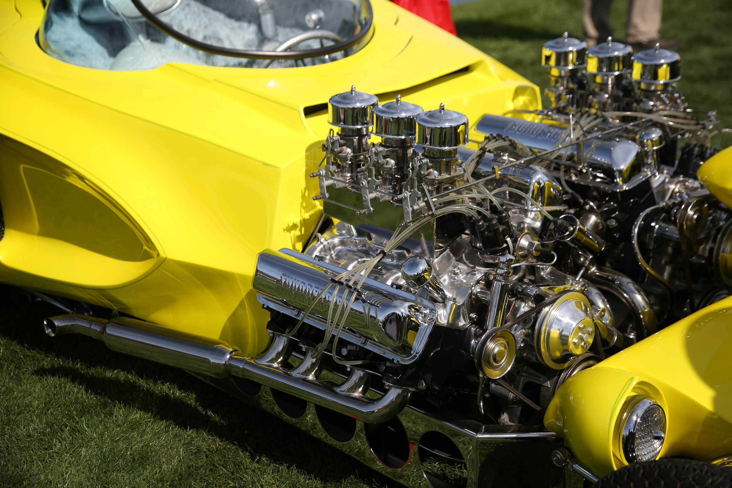 If you were expecting a 16-cylinder Bugatti, think again. These twin Ford FE engines power a replica of Ed Roth's Mysterion.