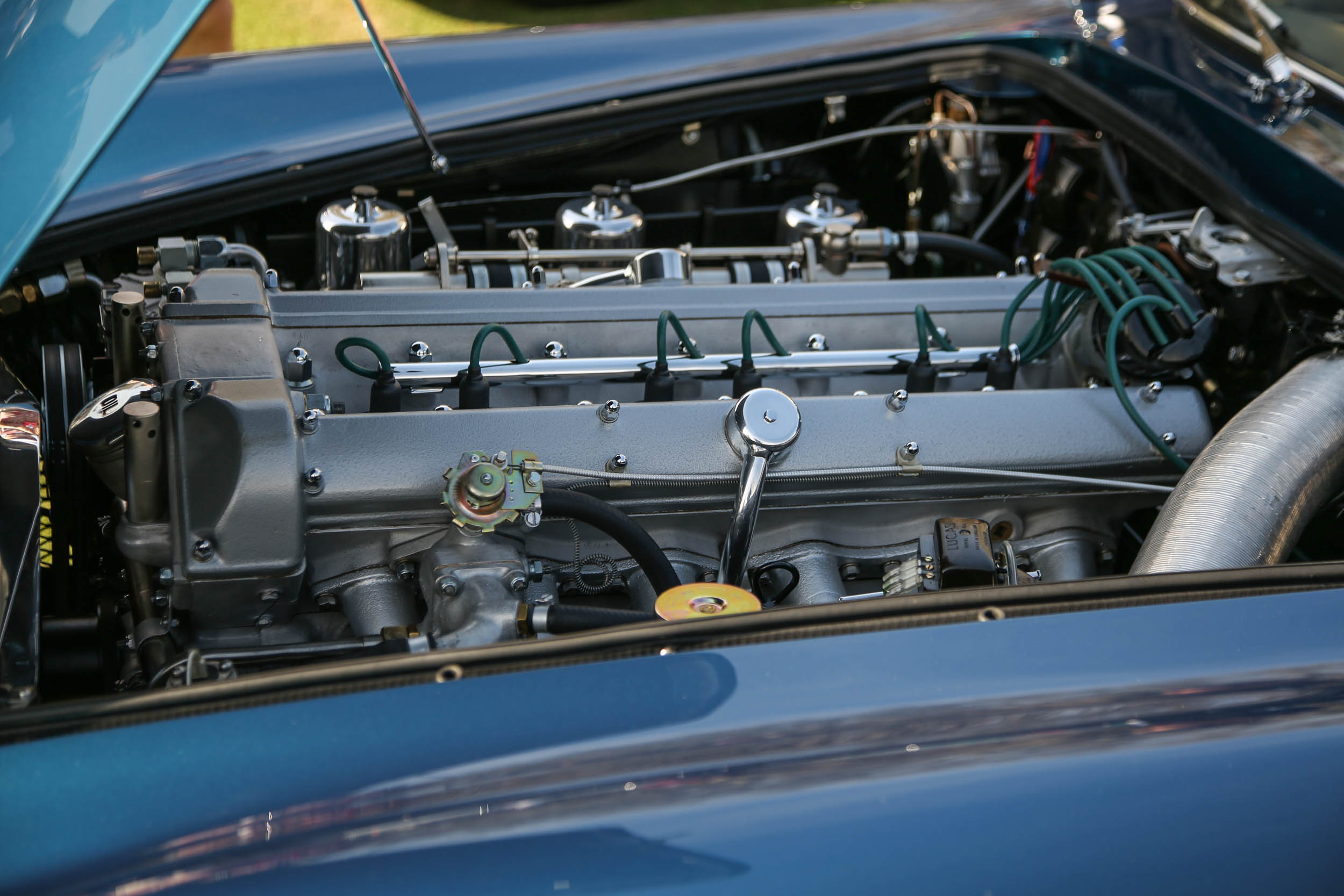 Aston Martin used an inline-six engine designed by Polish engineer Tadek Marek. In DB5 trim it produced 282 gross horsepower.