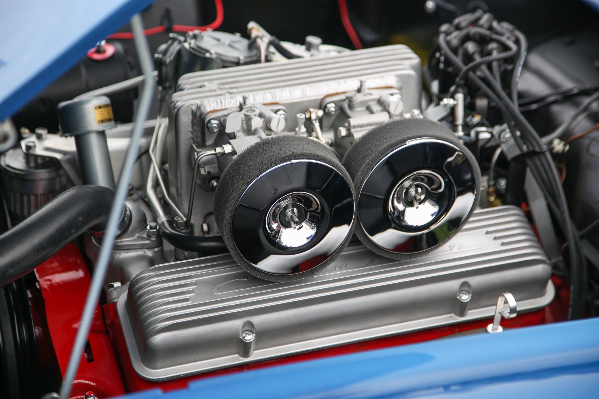 Chevrolet's Rochester mechanical fuel injection system that debuted for the 1957 model year was developed on the Corvette SR-2. This engine is wearing an intake modified to accept twin throttle bodies, while the factory offering used only one.