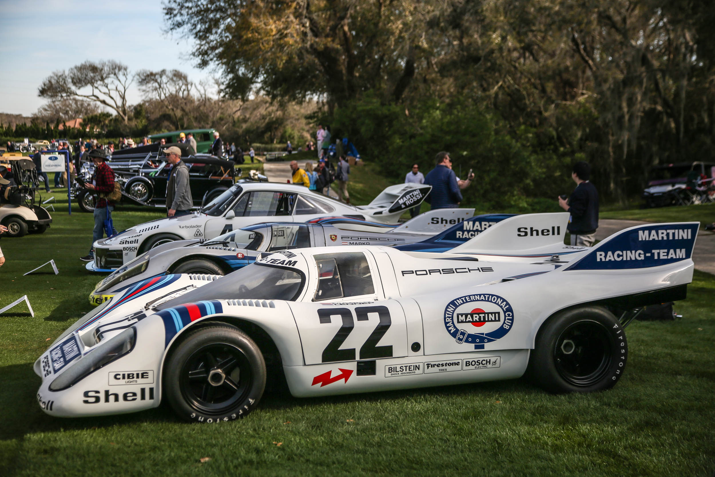 OK, so Martini makes a good case. Here's a nice lineup of Porsches wearing the iconic livery.