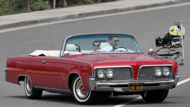 Don Draper's Imperial Crown Convertible filming