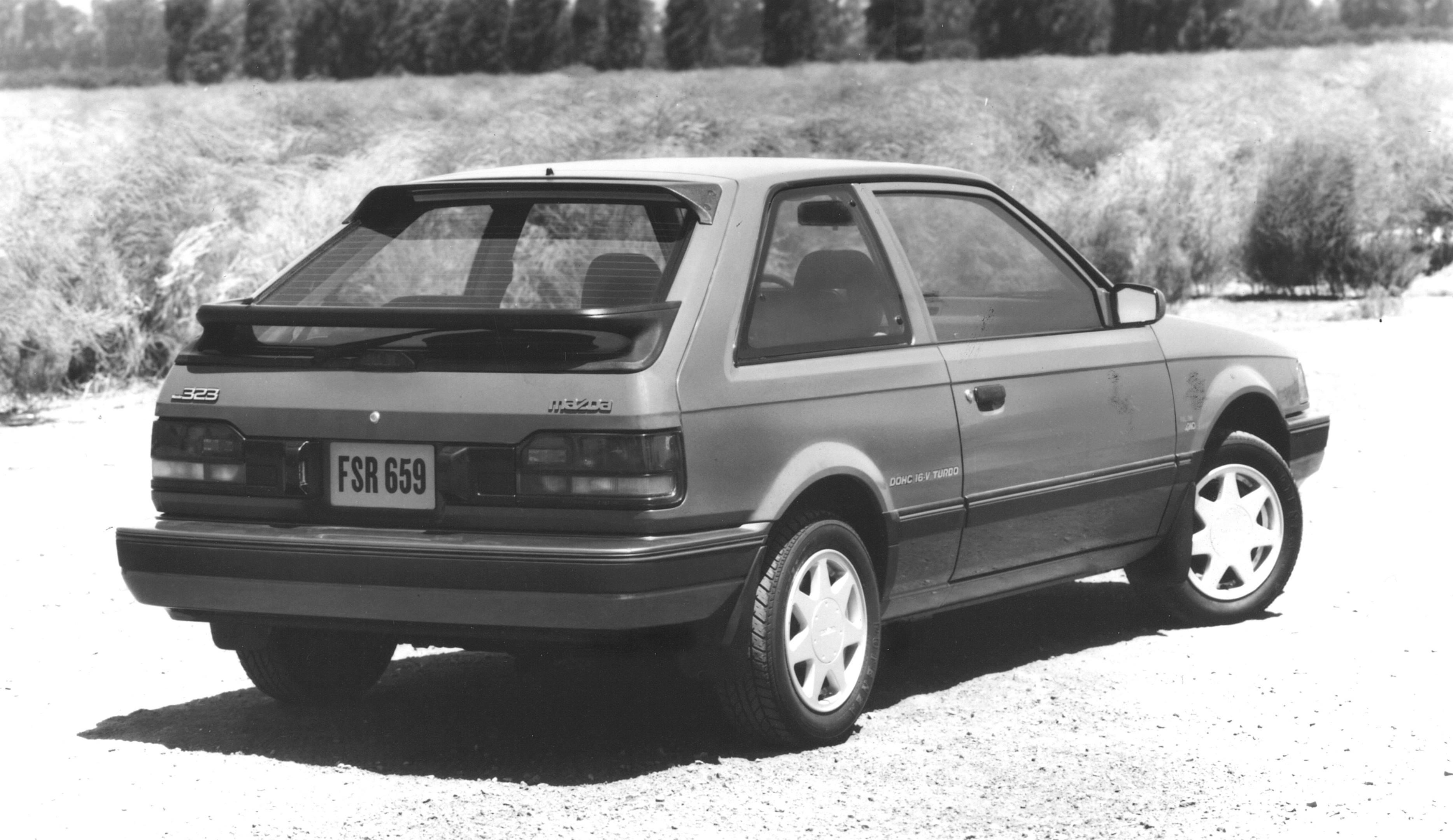 1988 Mazda 323 GTX rear 3/4