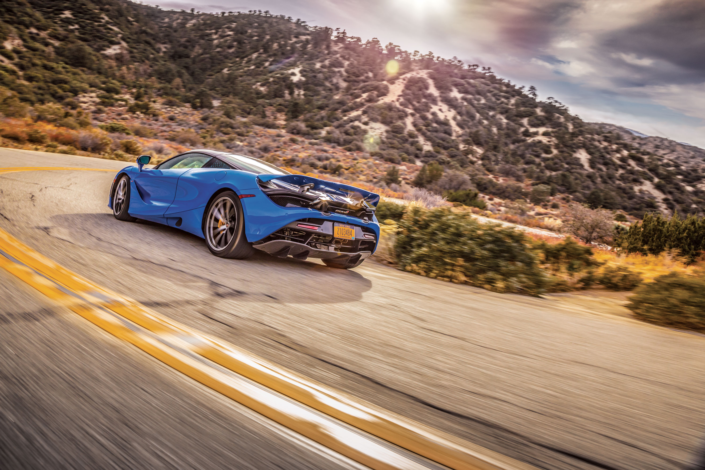 McLaren's mostly carbon-fiber 720S makes everything easier with nearly 360-degree glass for jet-canopy visibility, relaxed entry via revised dihedral doors, and push-button controls. It's nearly as quick as a Bugatti Veyron, partly because it's almost 1000 pounds lighter.