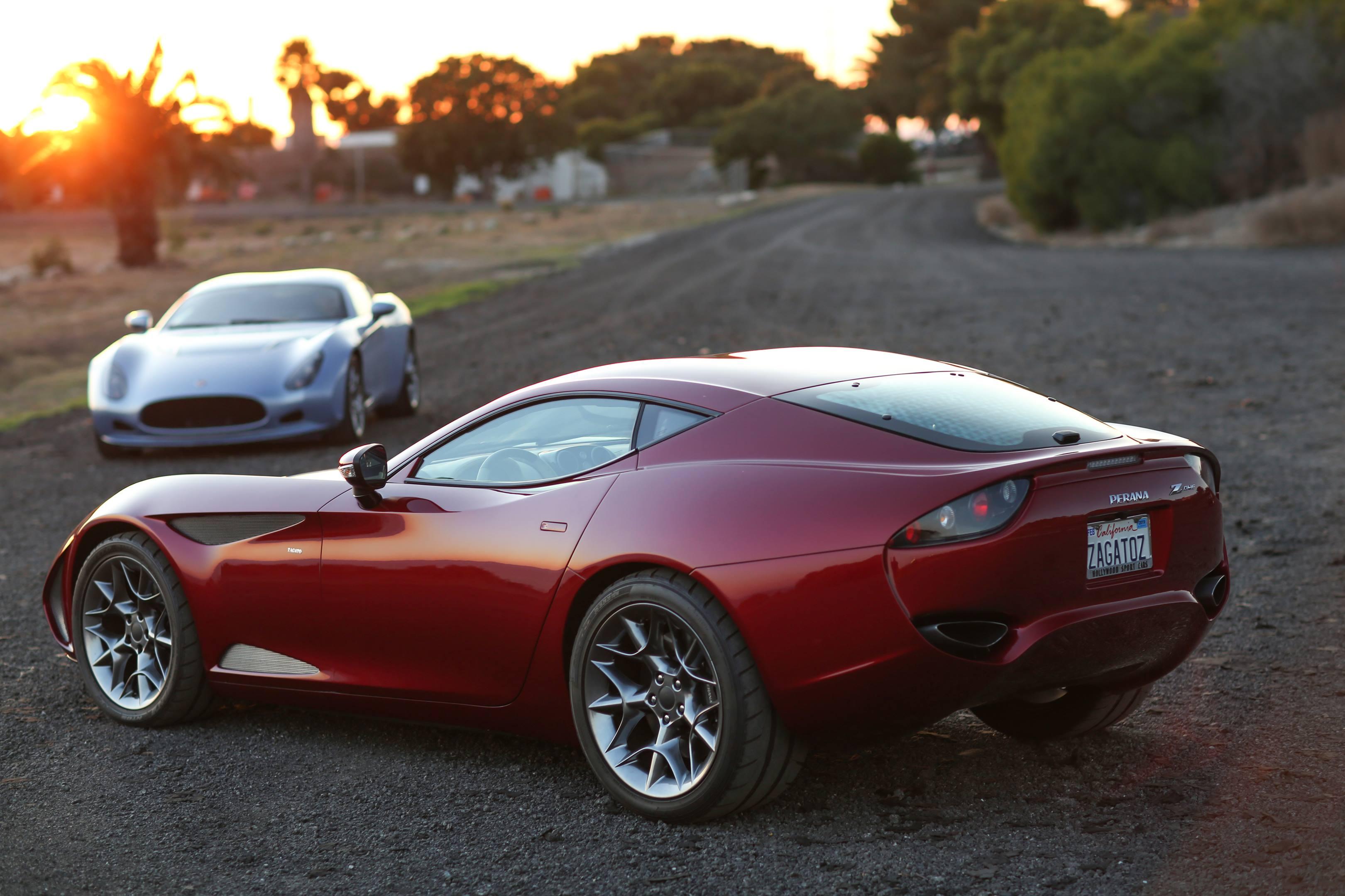 pair of Zagato Perana Z-One at sunset