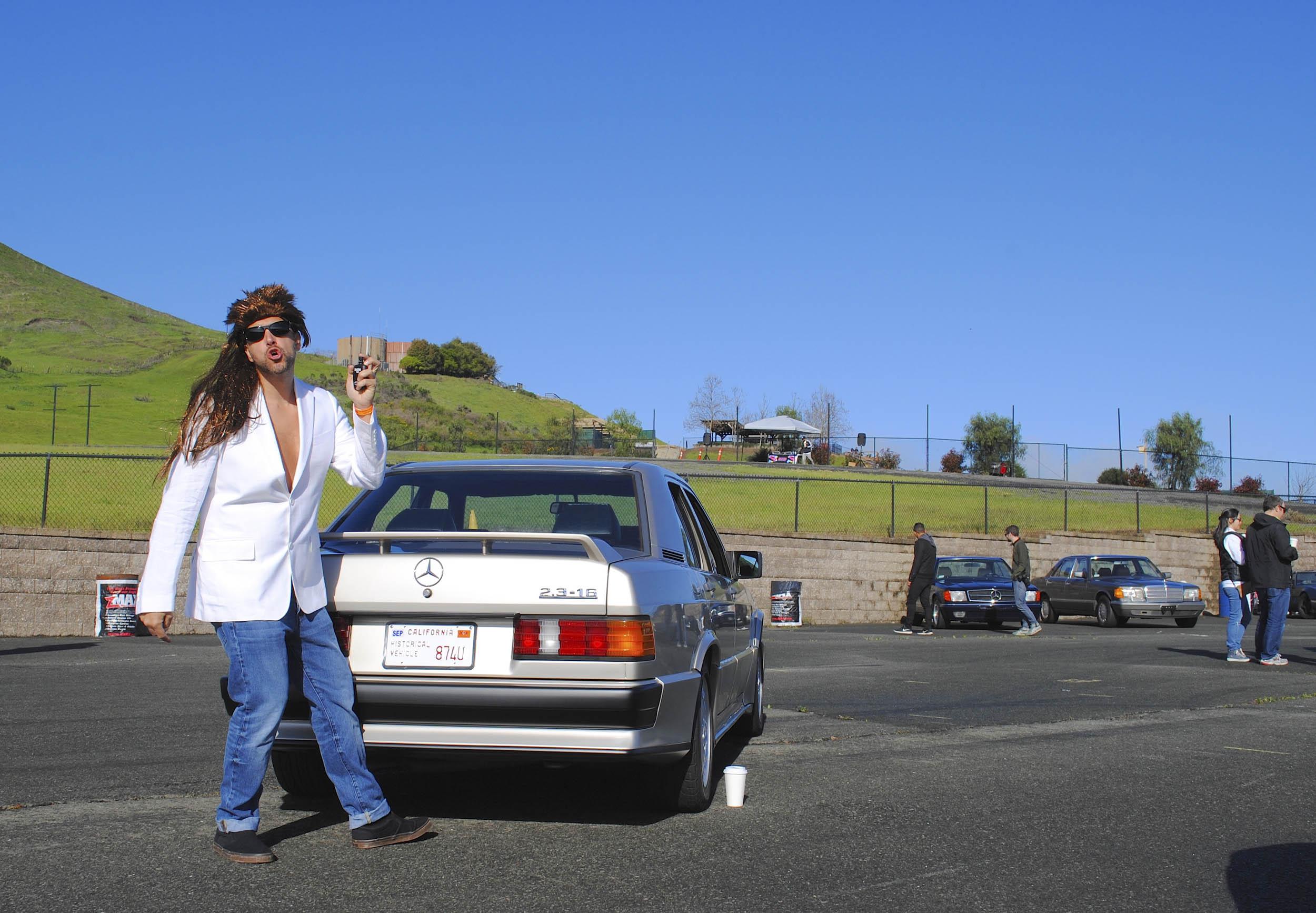 Radwood goer showing off his Mercedes-Benz