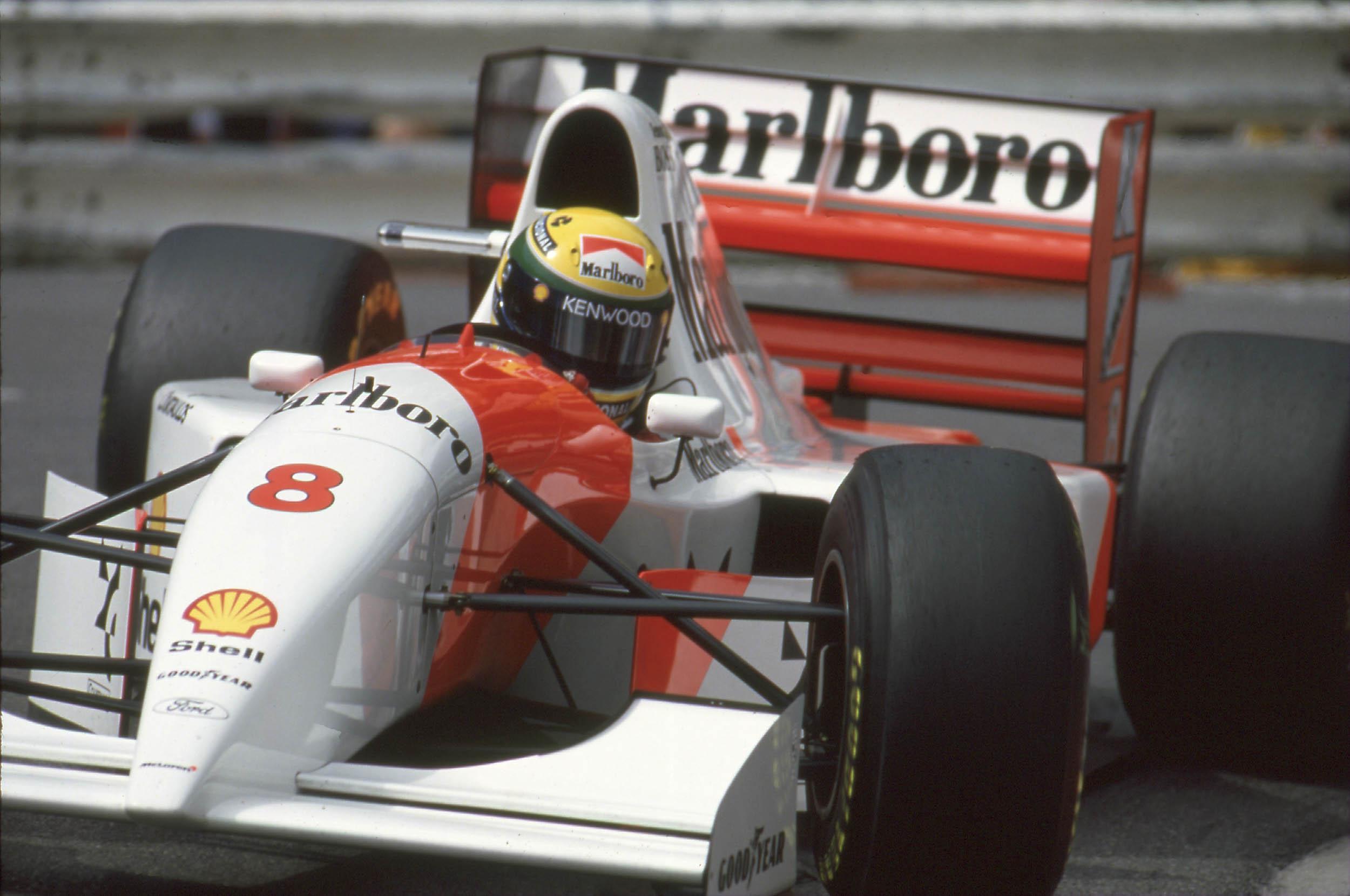 Senna McLaren-Ford F1 car head on