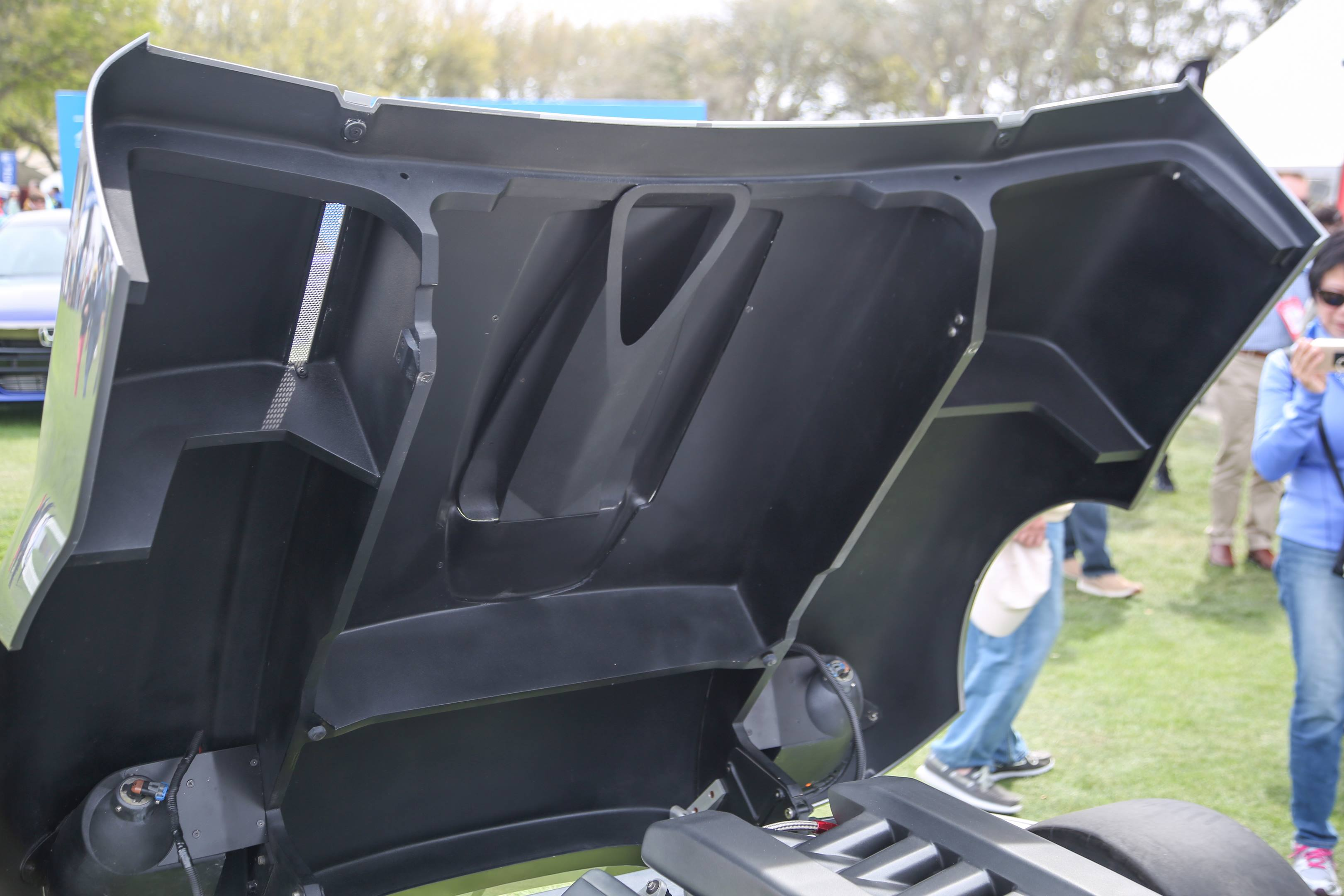 The body is mostly fiberglass, with some carbon fiber, built with a foam core.