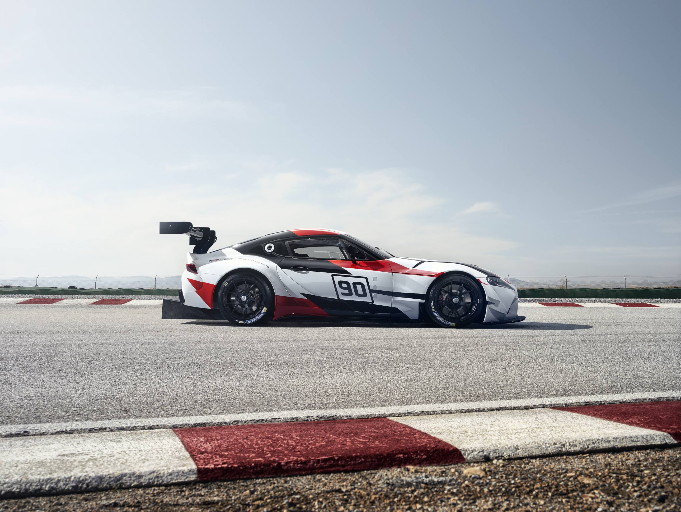 Toyota Supra racing concept profile on the track