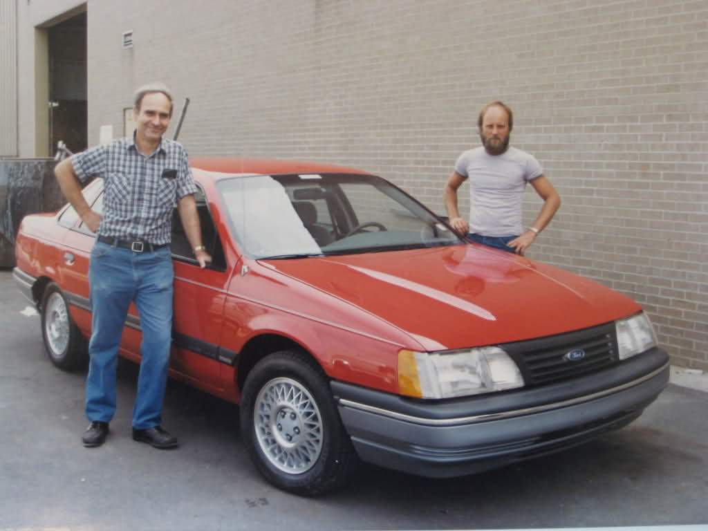 Will Johnston (left), and Mike Klein (right) with a Ford Taurus SHO