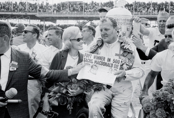 The Indy win in 1964 was bittersweet for Foyt (with wife, Lucy), because of the deaths of Eddie Sachs and Dave MacDonald.