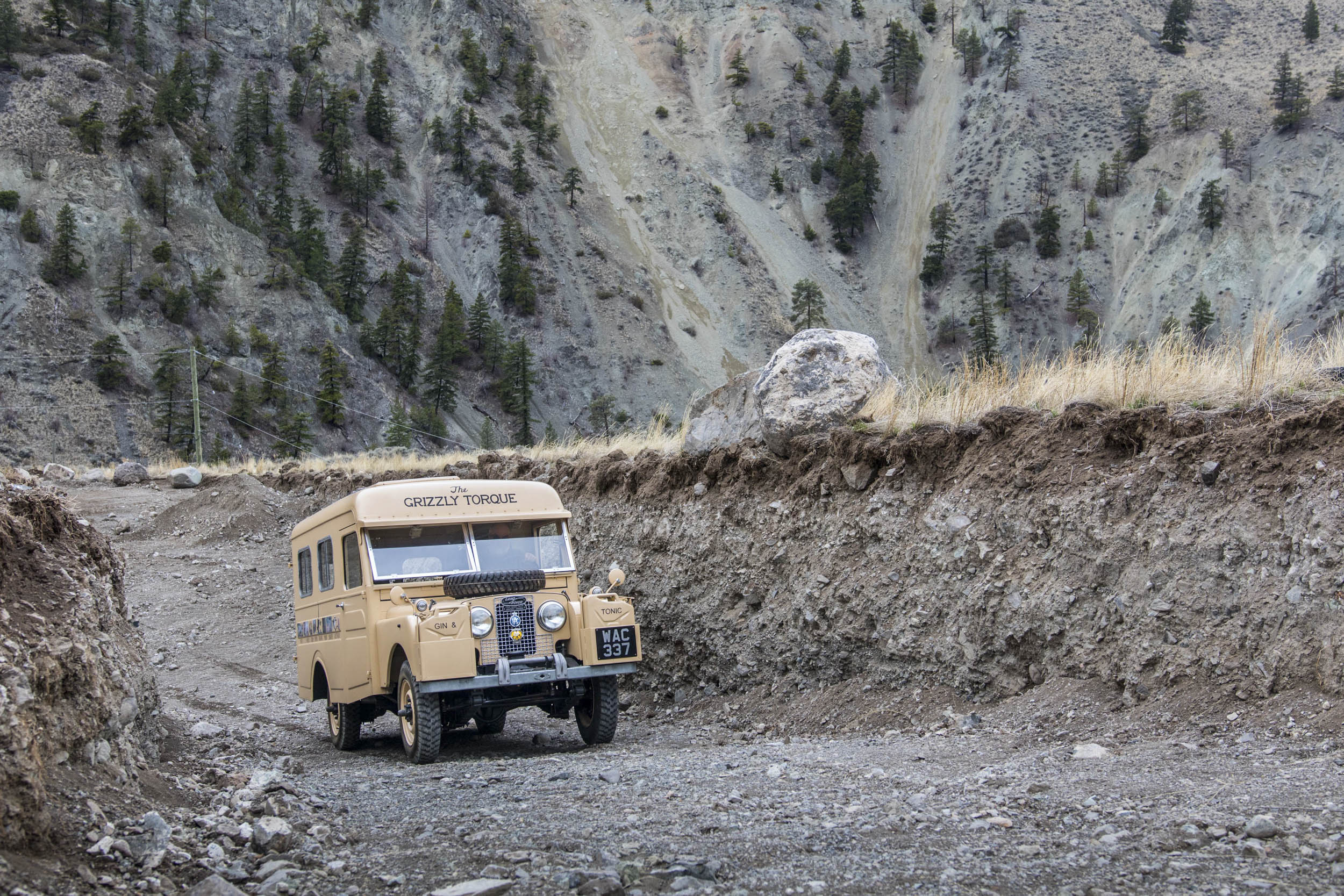 1957 Land Rover the Grizzly Torque climbing a mountain