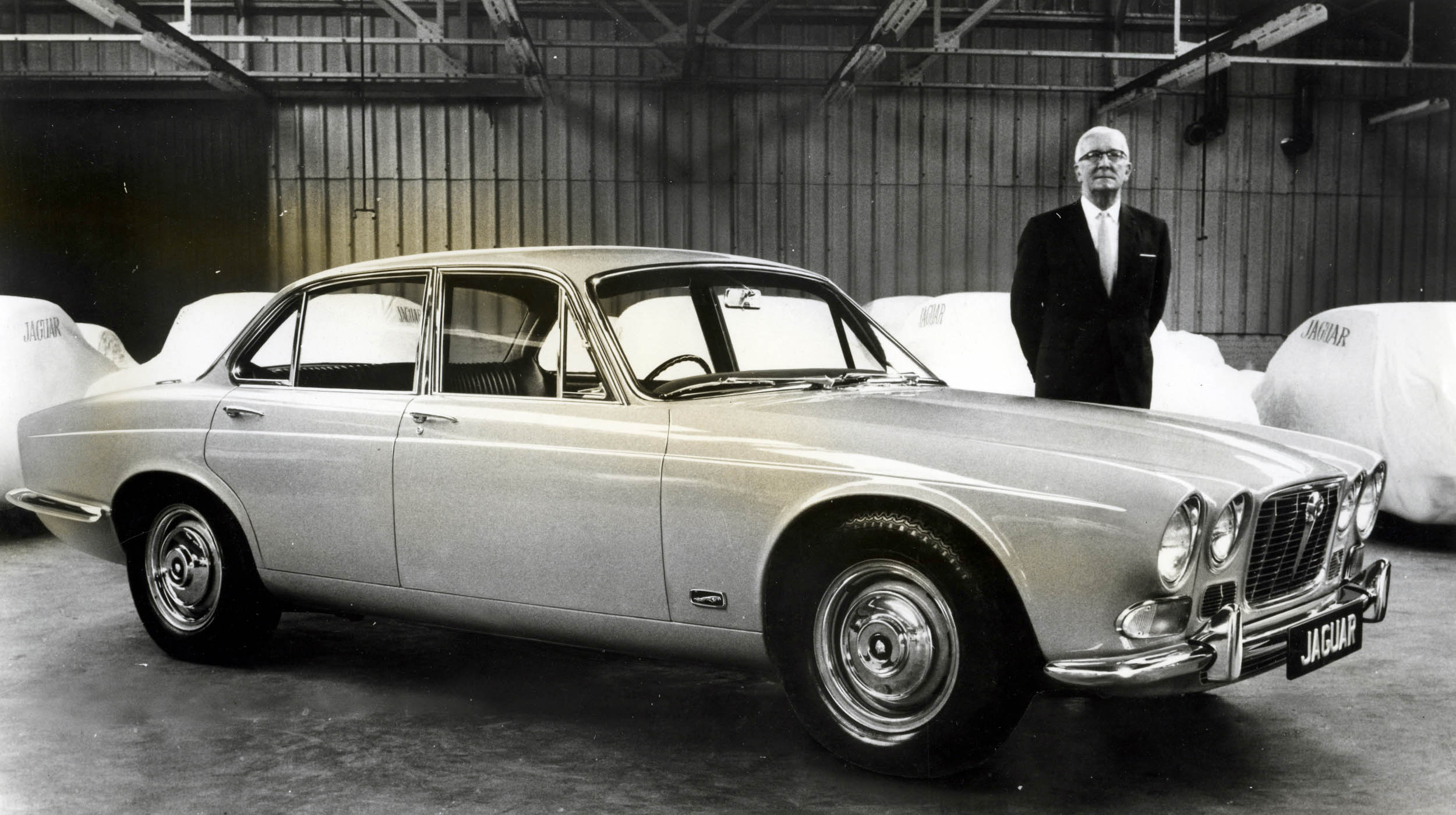 Sir William Lyons with XJ6 Series I