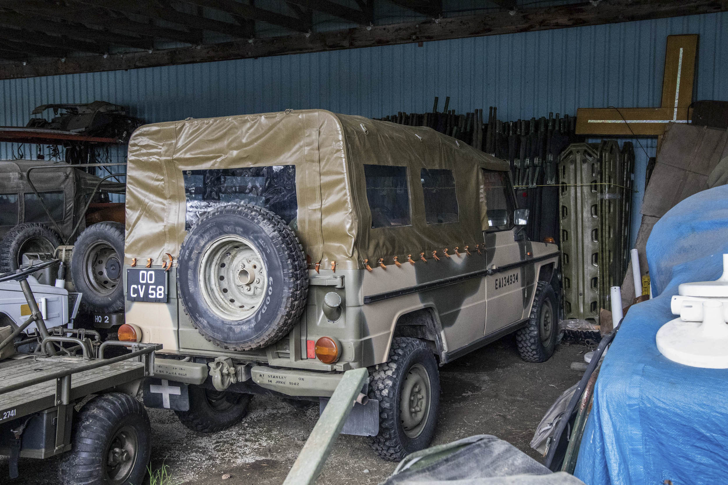Captured from Argentinian forces during the Falklands war, this Mercedes Gelandewagen is an ultra-rare, well-documented survivor. Newby received it in trade for a Canadian-spec Iltis.