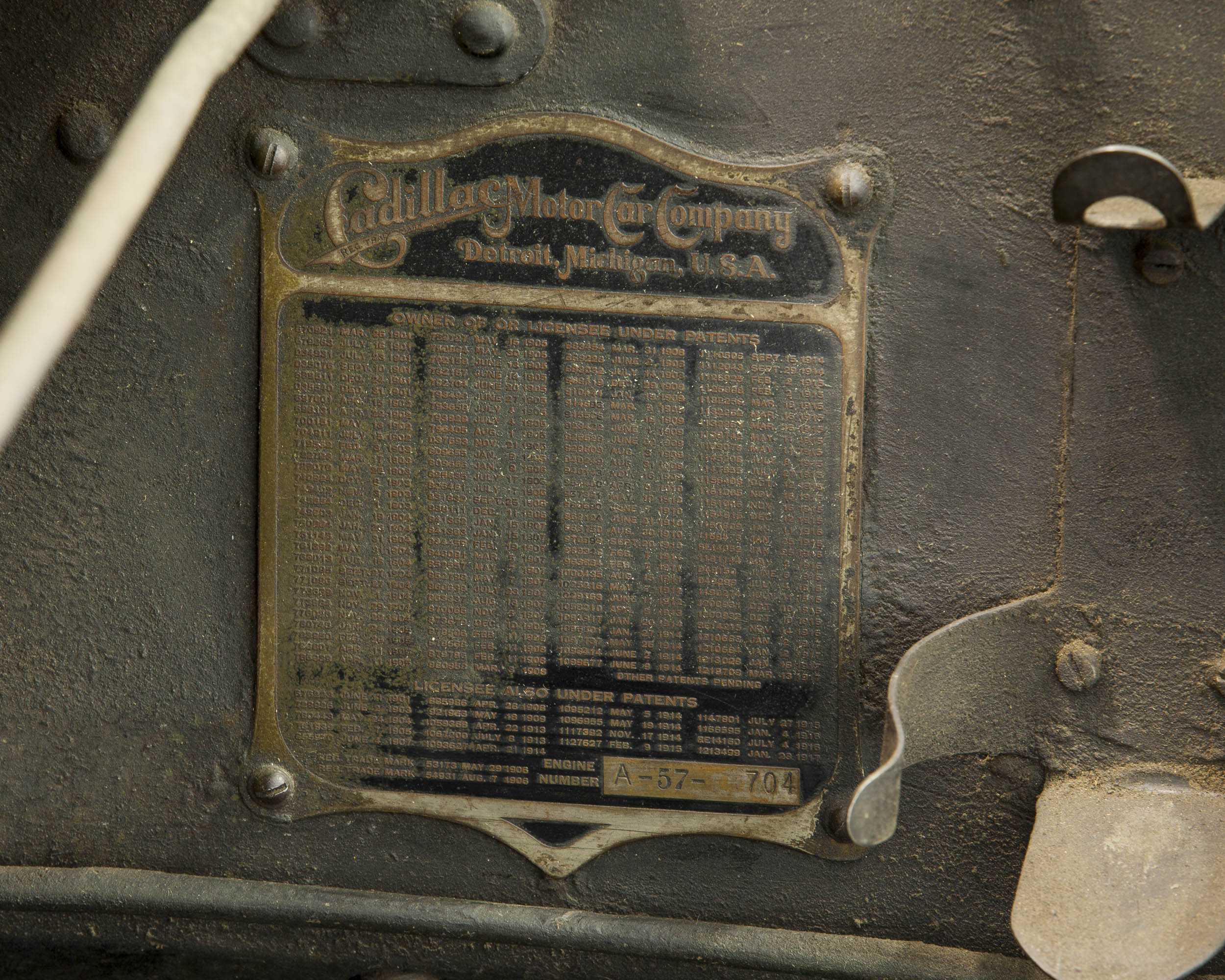 1918 Cadillac Type 57 body tag