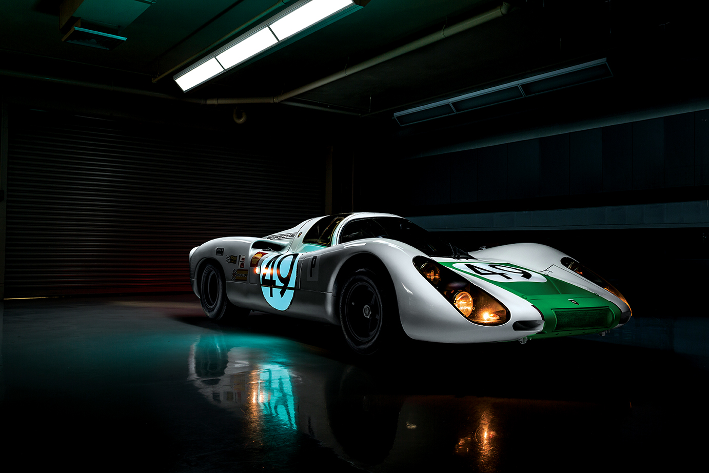 All lit up for nighttime racing: This 1968 Porsche 907 won its first race, the 12 Hours of Sebring. It retains the scars from that original triumph.