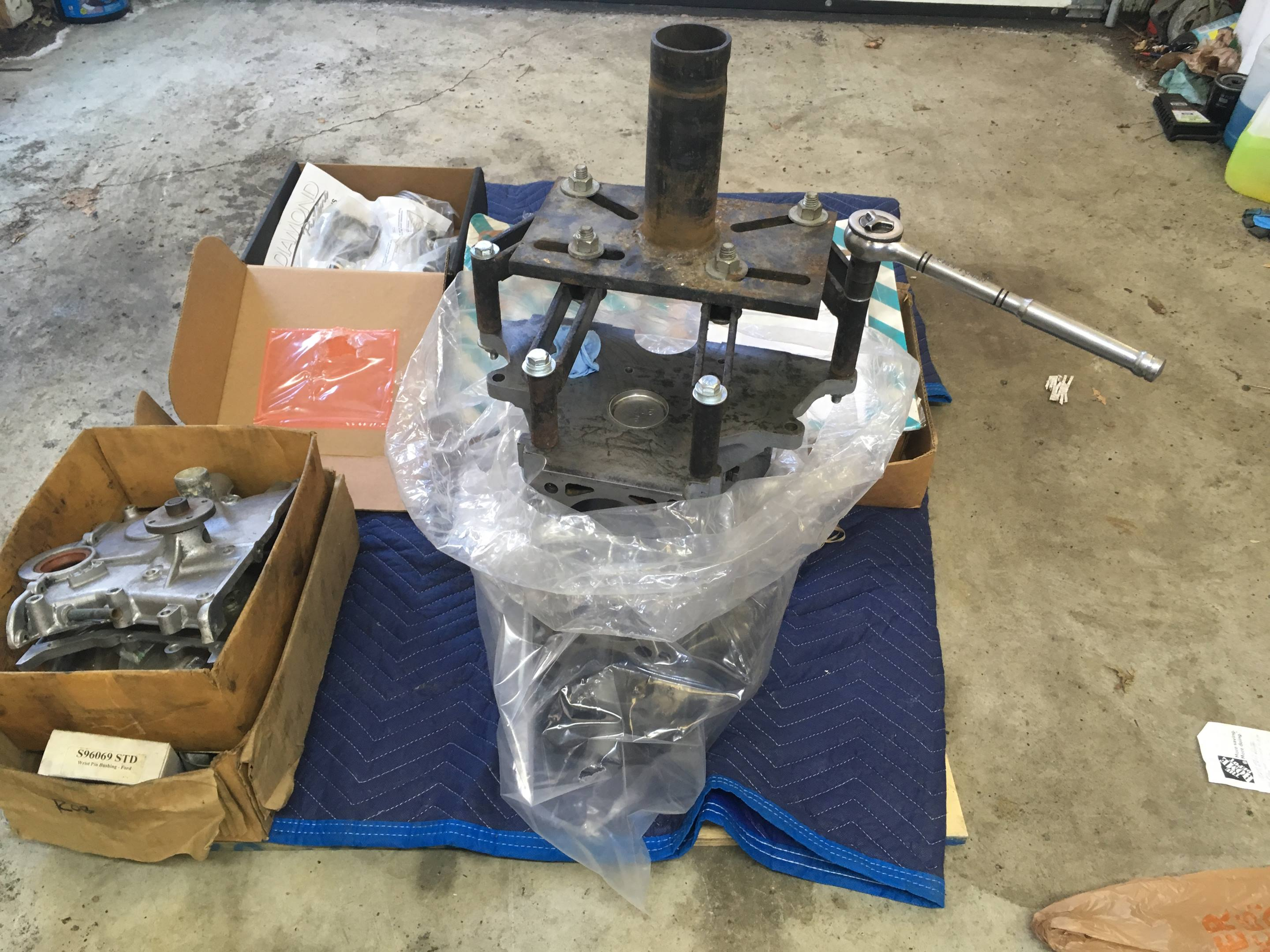 Attaching the engine stand's rotating flange to the block.