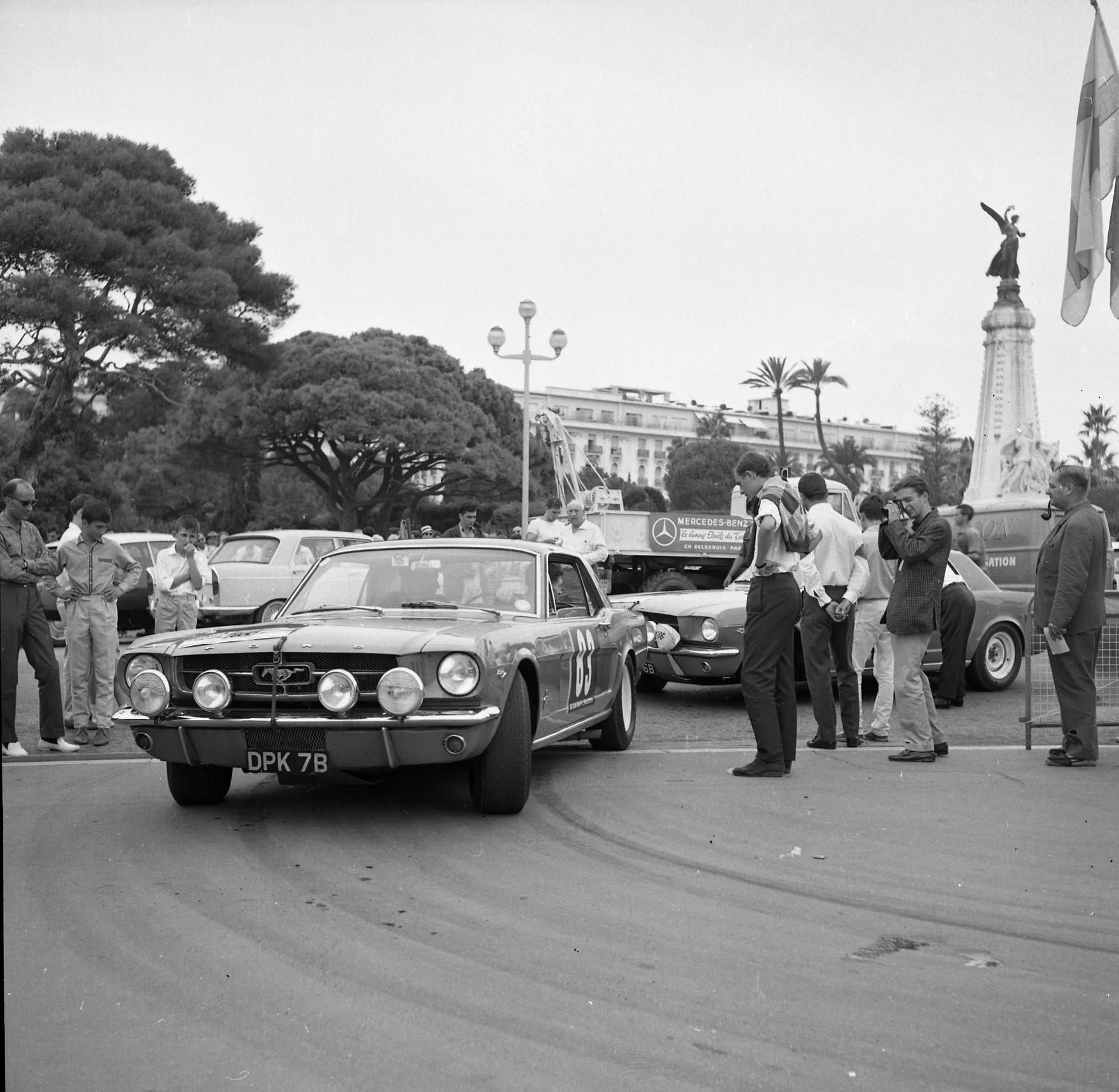 The race-prepped Mustangs attracted much attention and admiration in France.