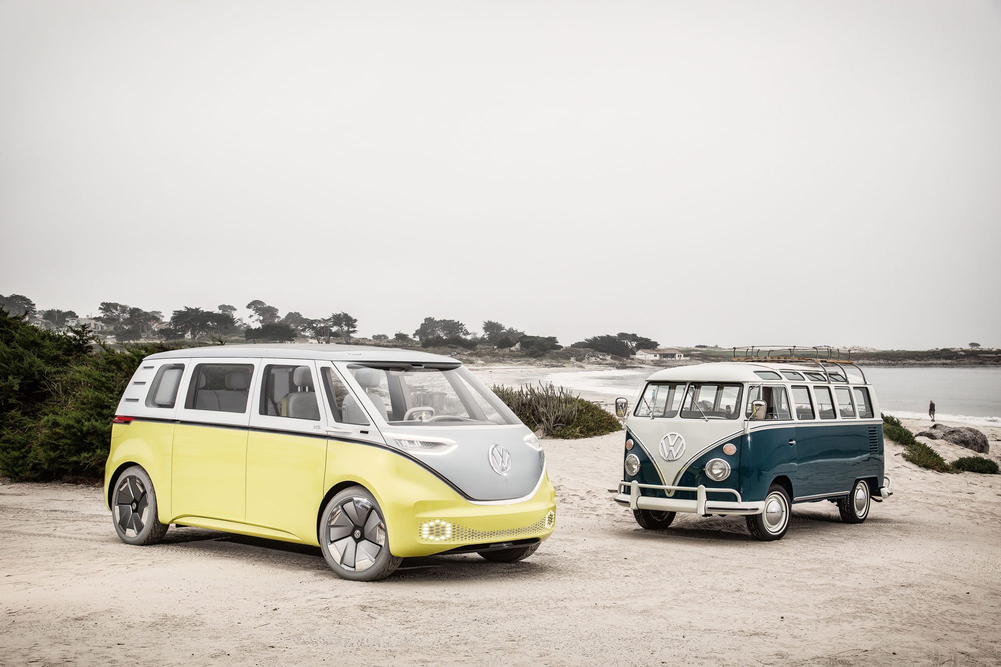 Brennen and Finn's 1964 21-window bus posing with the VW I.D. Buzz concept, a precursor to the upcoming electric-powered Microbus.
