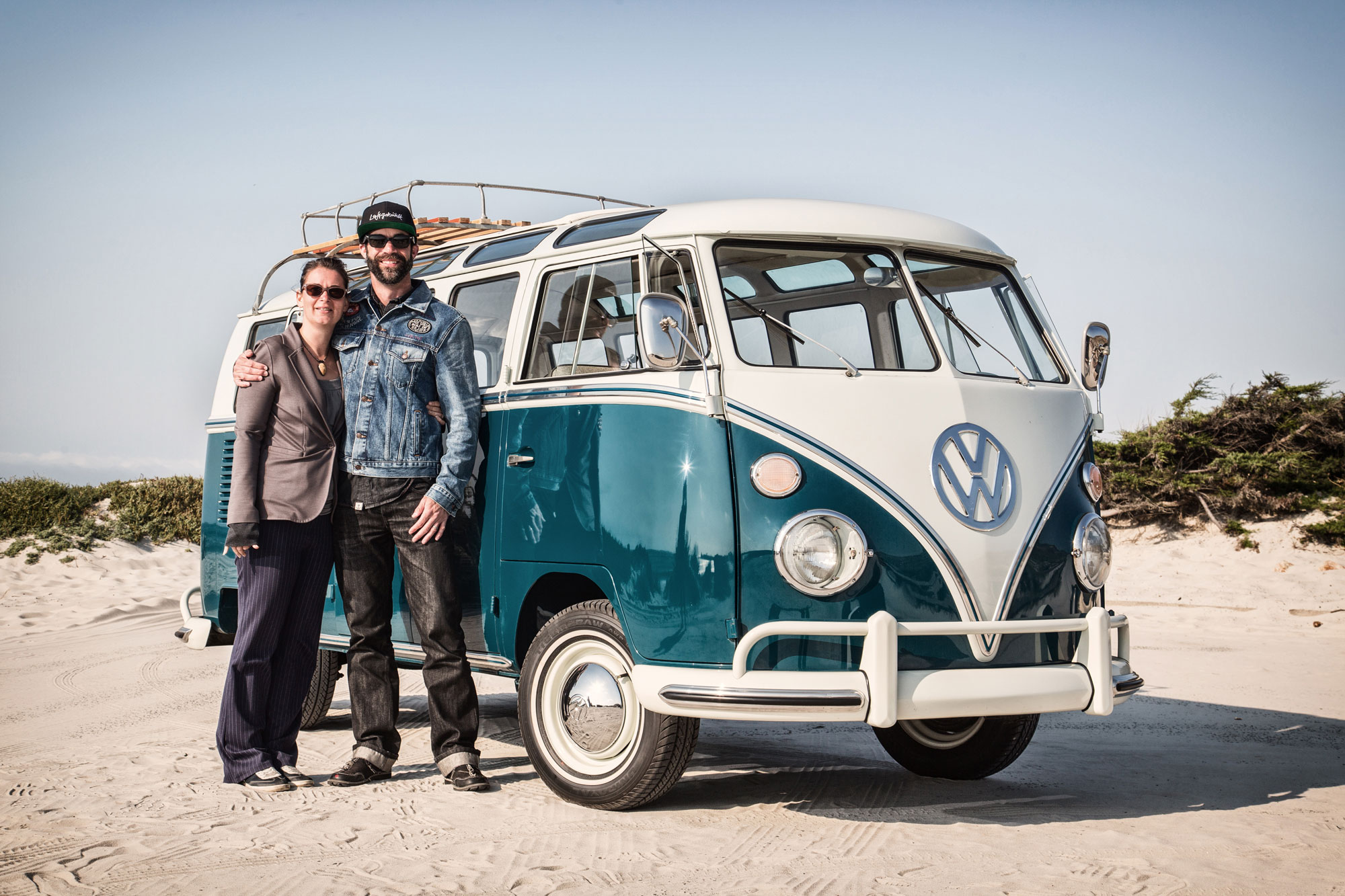 Brennen and Finn with their 1964 21-window bus