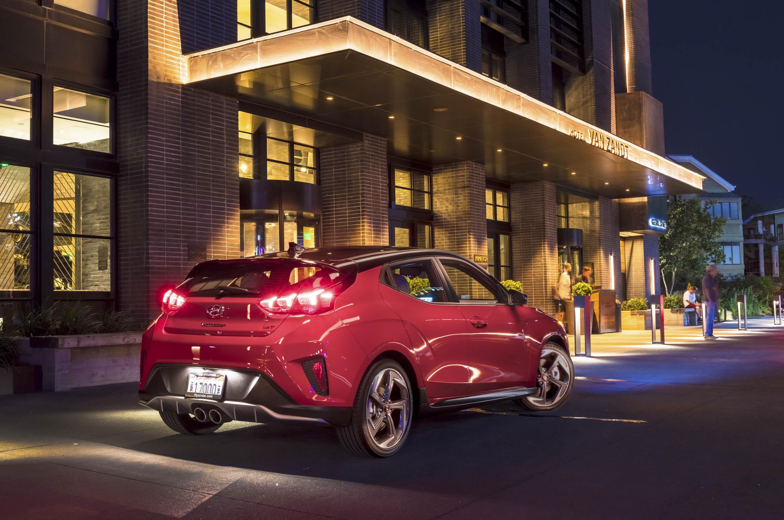2019 Hyundai Veloster rear 3/4 at night