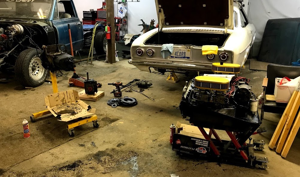 Just a few weeks from a cross country trip, the car sat in this state. Will it be ready in time? Corvair Corsa Trip