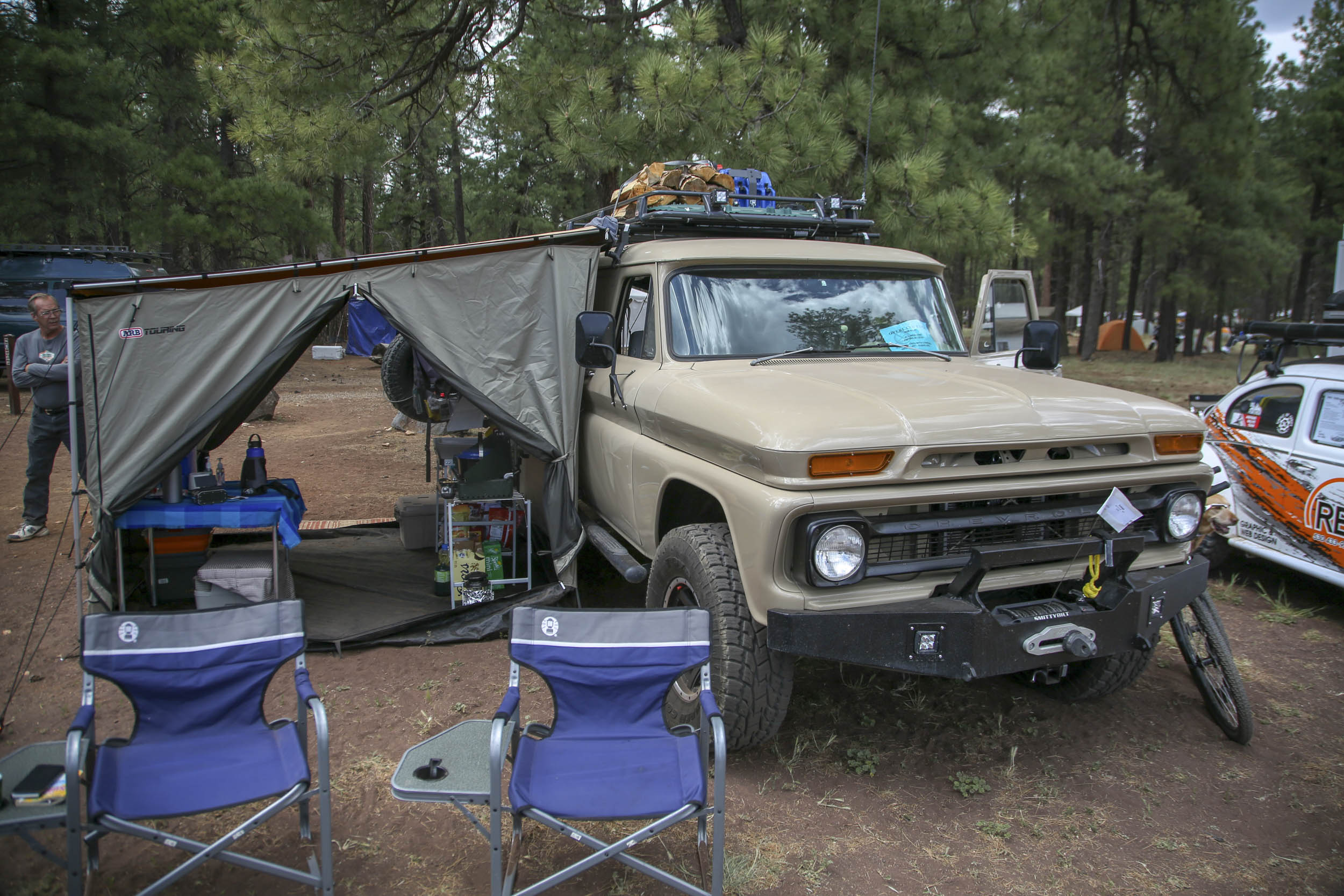 1966 Chevrolet Panel Truck camping setup