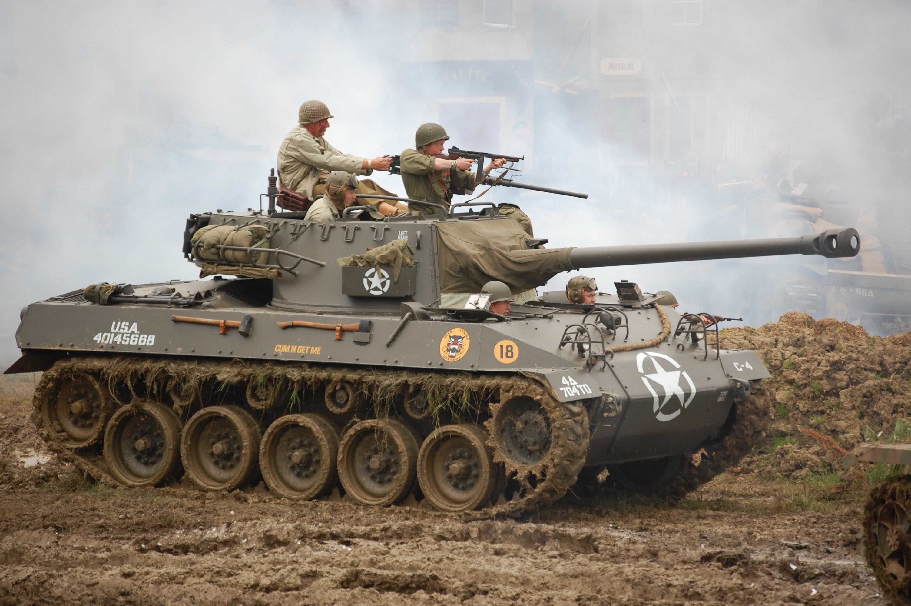 2018 War and Peace Revival Tank in Battle Side view